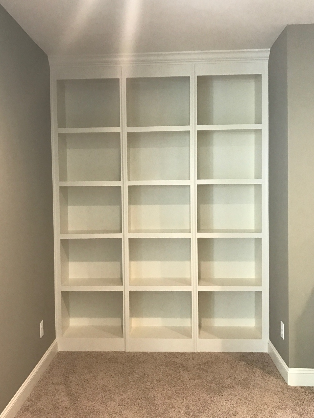 Record Holder Built-In with Fixed Shelves