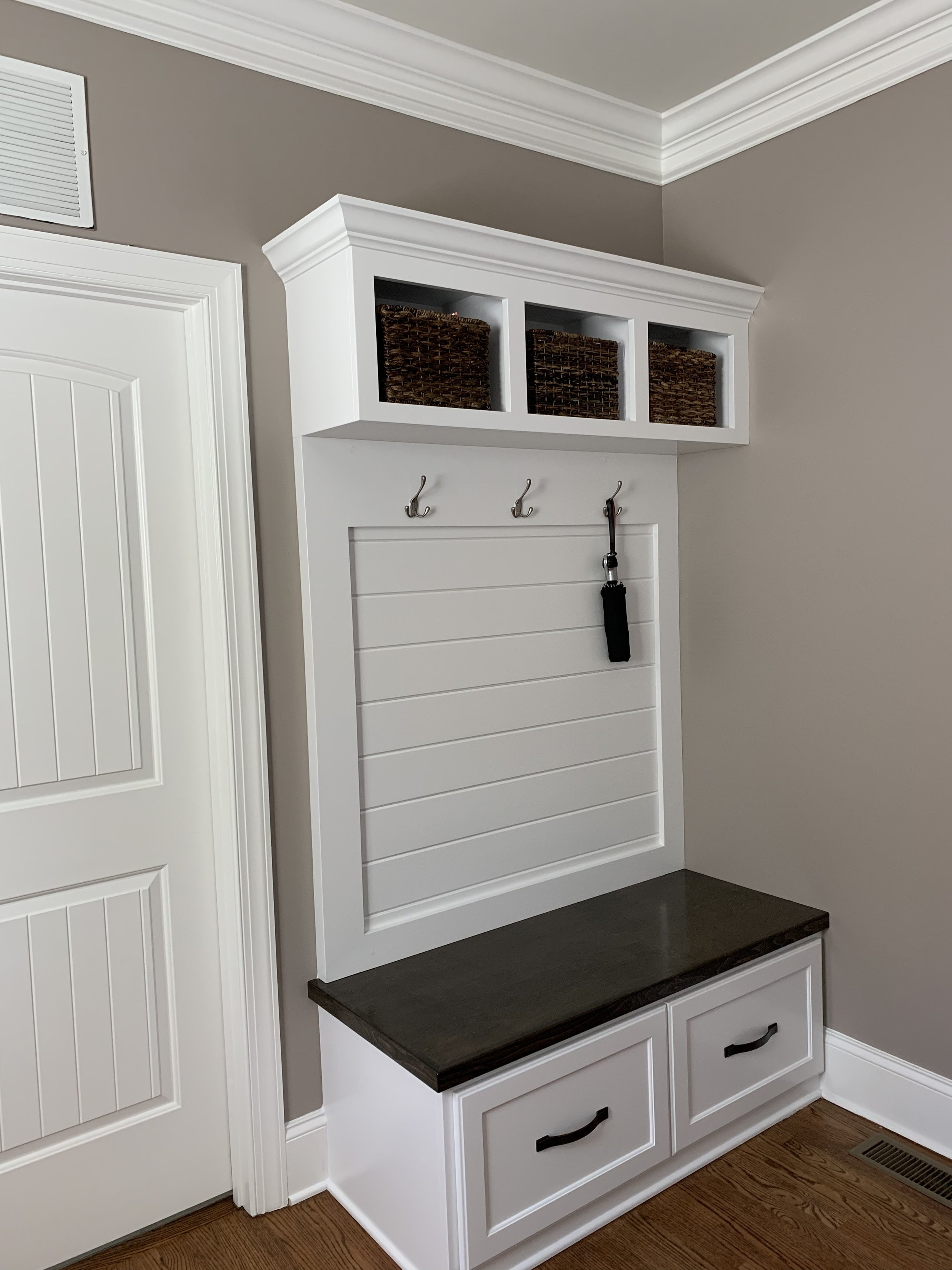 Mud Bench with Shaker Drawers, Open Cubbies, Framed Shiplap Backer & Crown