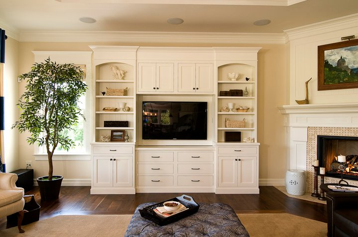 Built-In with Inset Shaker Doors, Inset Drawers, Arches, Header, and Crown