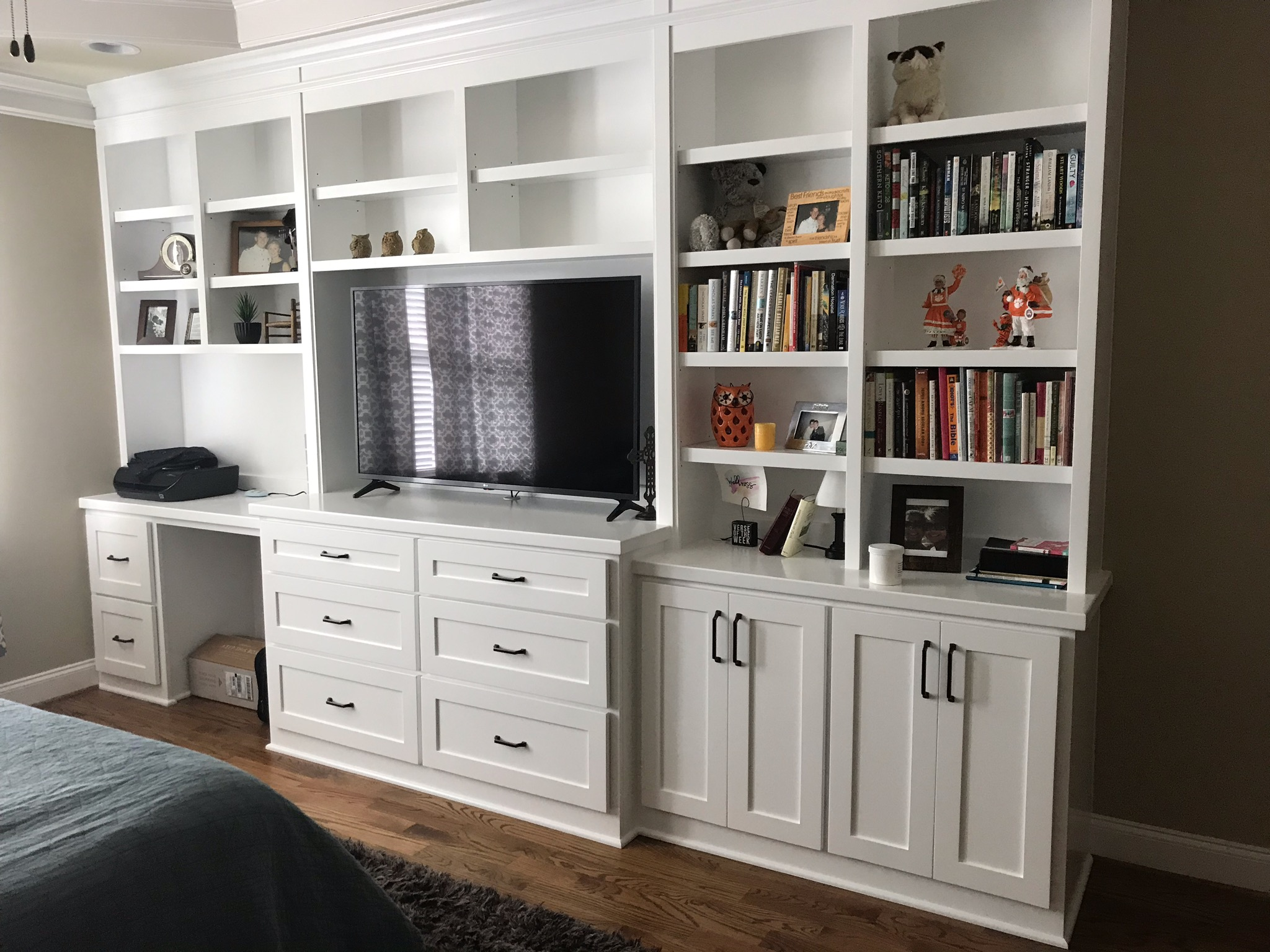 Built-In with Desk Opening, Shaker Doors and Drawers, Monitor & TV Openings, and Crown