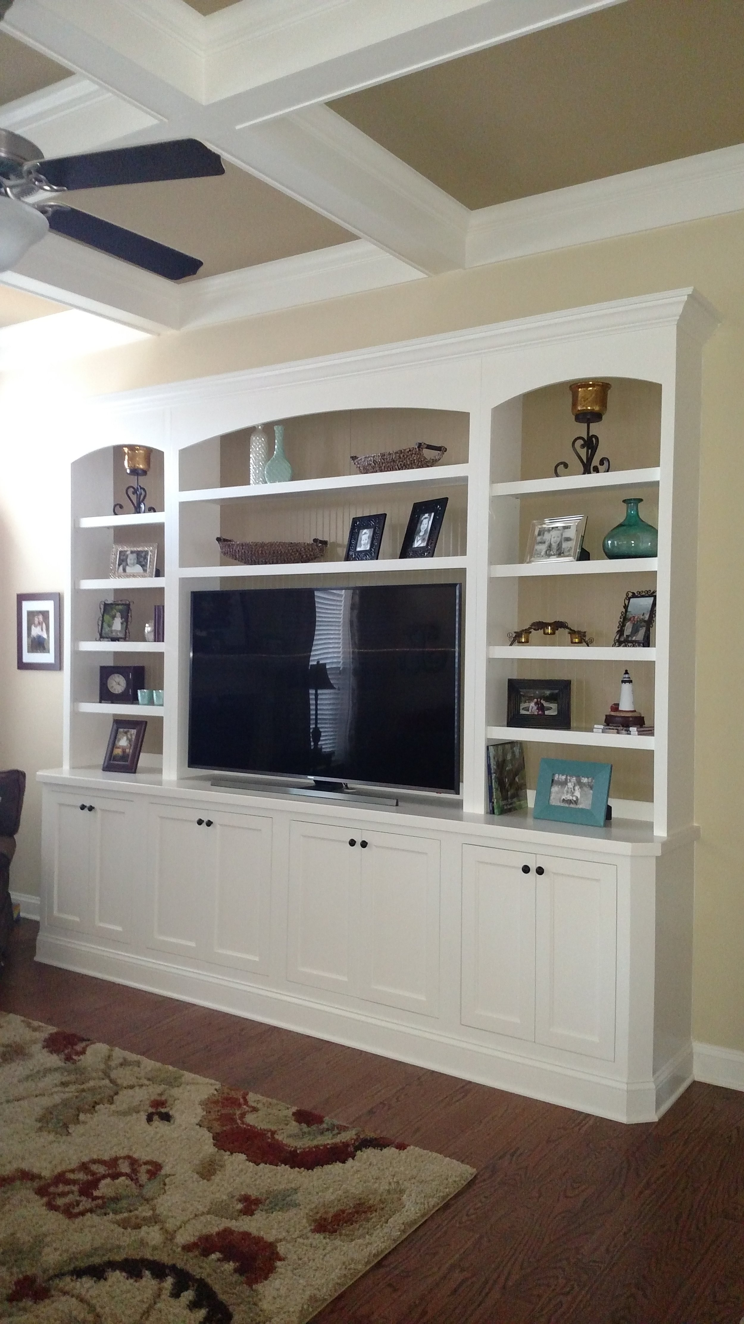 Built-In with Clipped Corners, Beadboard & Accent Backer, Inset Shaker Doors, and Arches