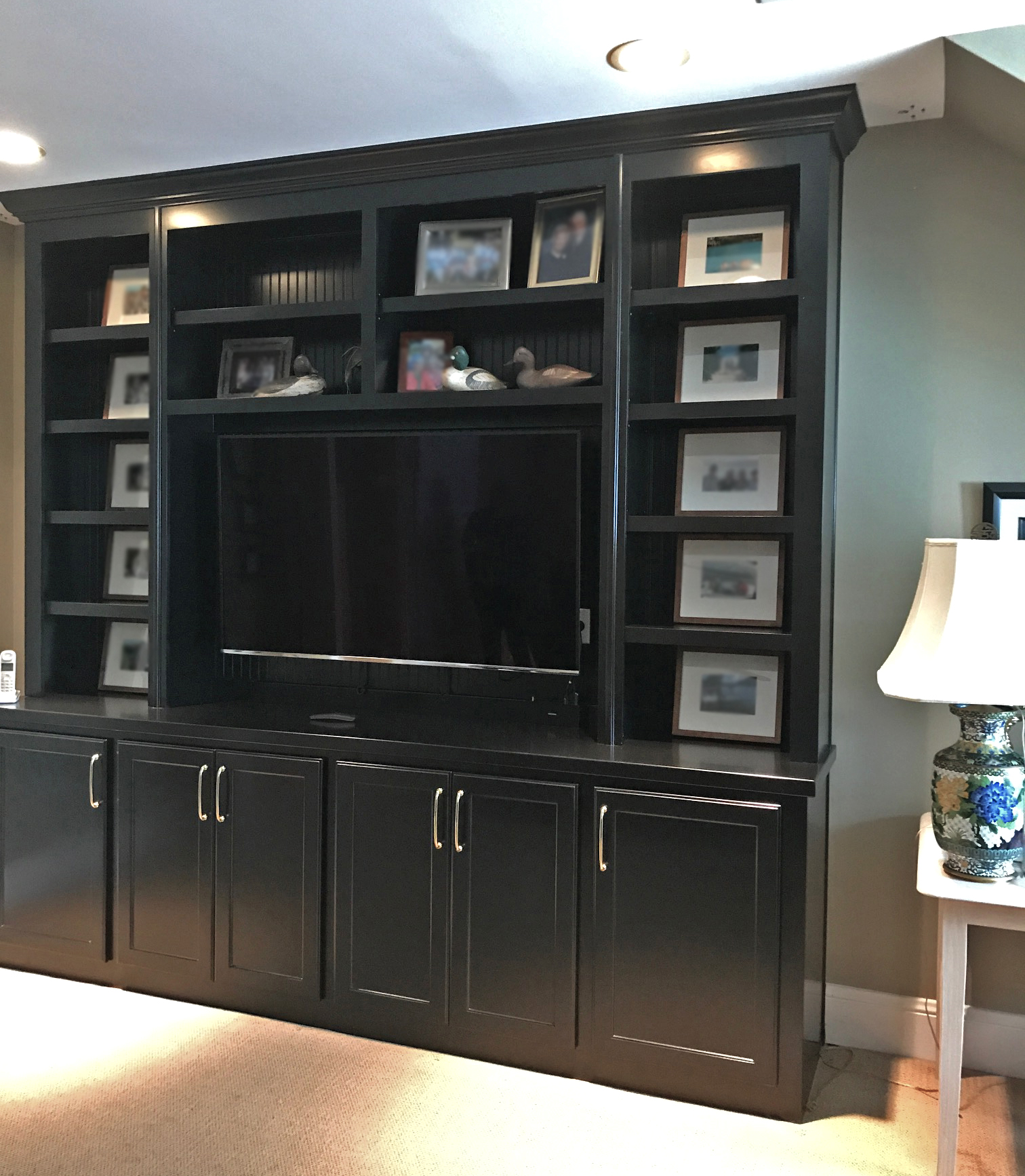 Built-In with Beadboard Packer, Shaker Doors, Adjustable Shelves, and Crown