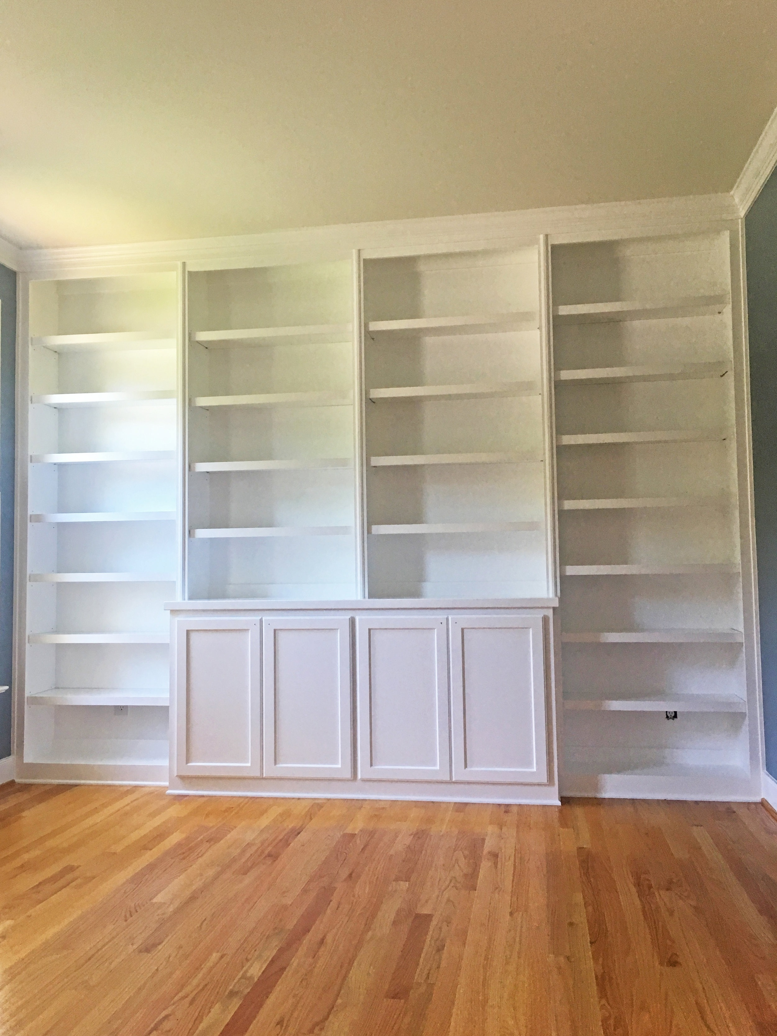 Built-In with Bookcases, Shaker Doors, Adjustable Shelves, and Crown