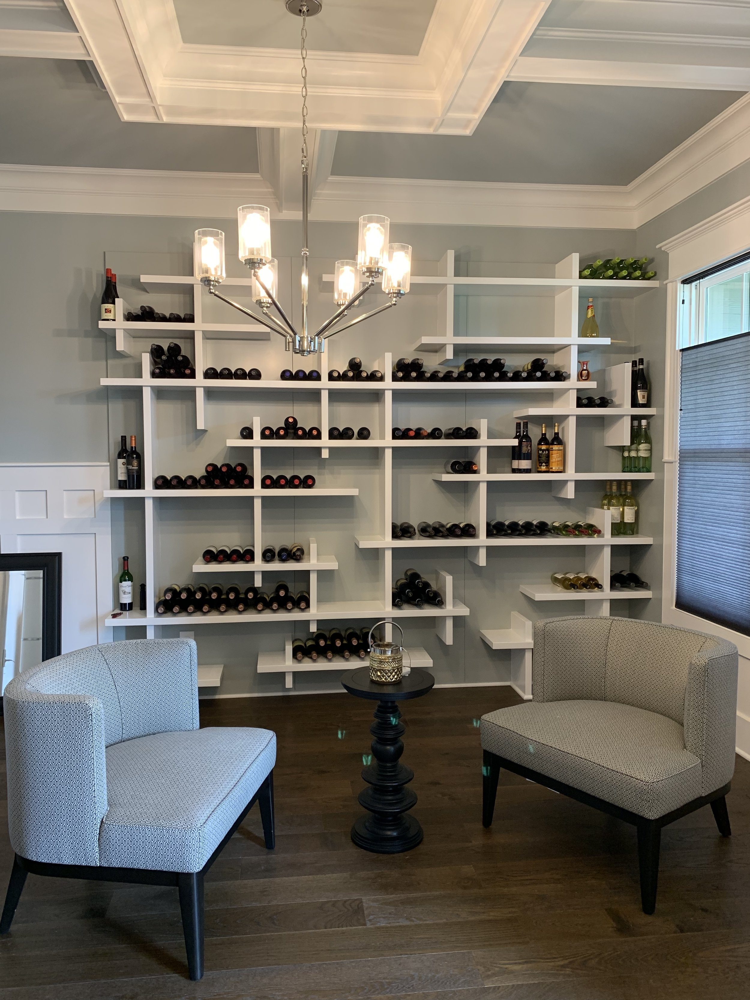 """Cube"" Fixed Shelves Wine Rack with Smooth Accent Backer"