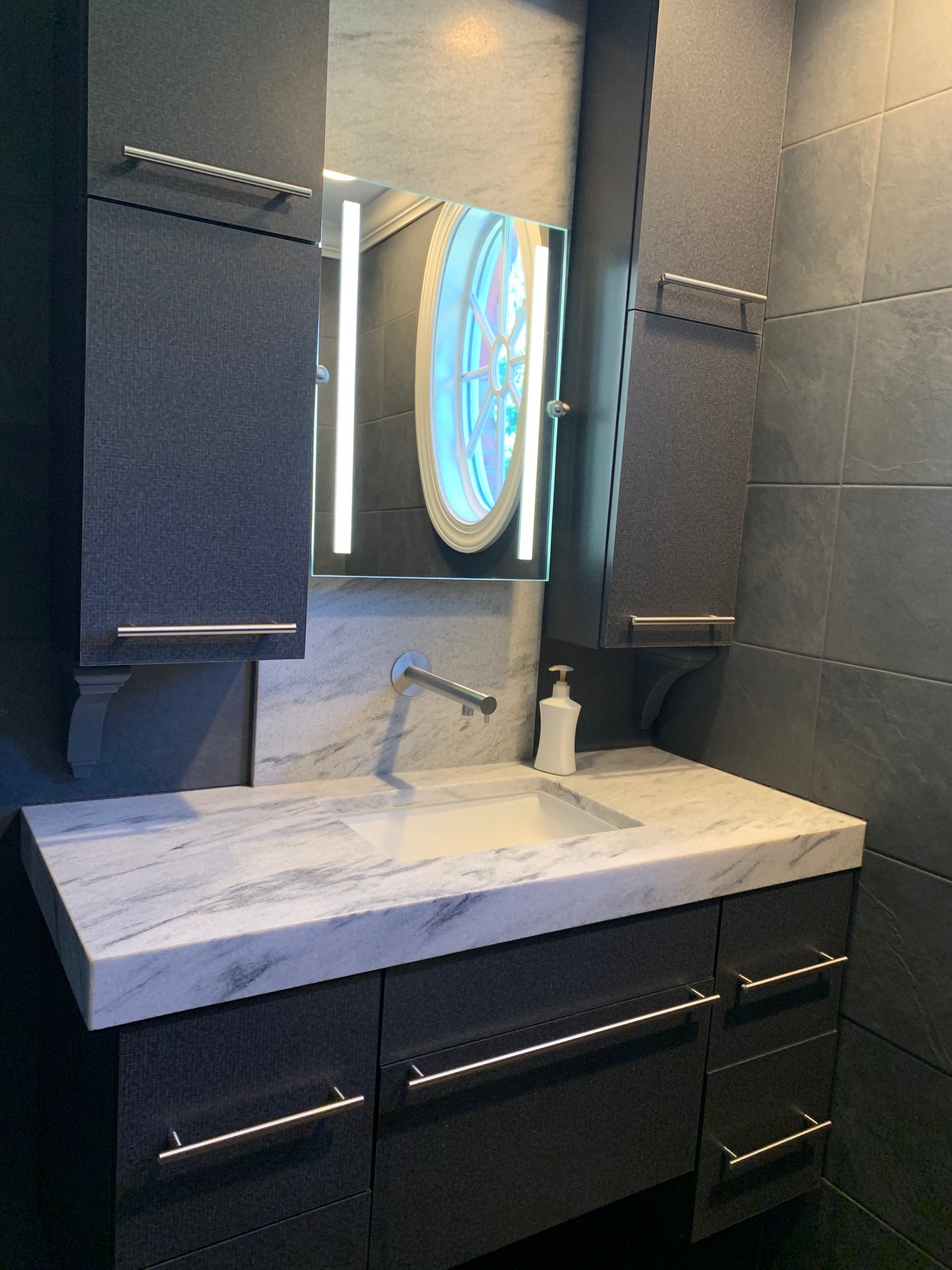 Custom Laminate Vanity with Doors, Drawers, and Corbels