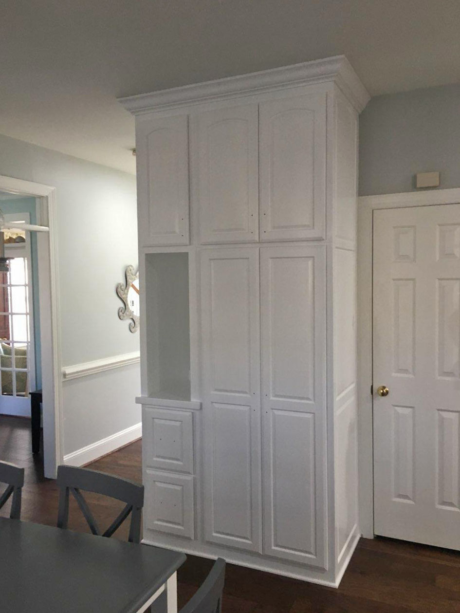 Custom Pantry with Raised Panel Doors & Drawers, End-Panels, Shelves, and Crown