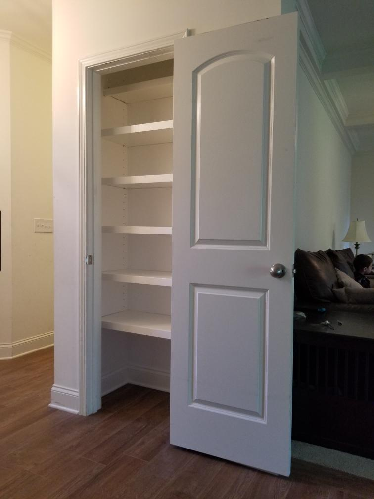 """Custom Pantry with 3/4"""" Side Panels and Adjustable Shelves"""