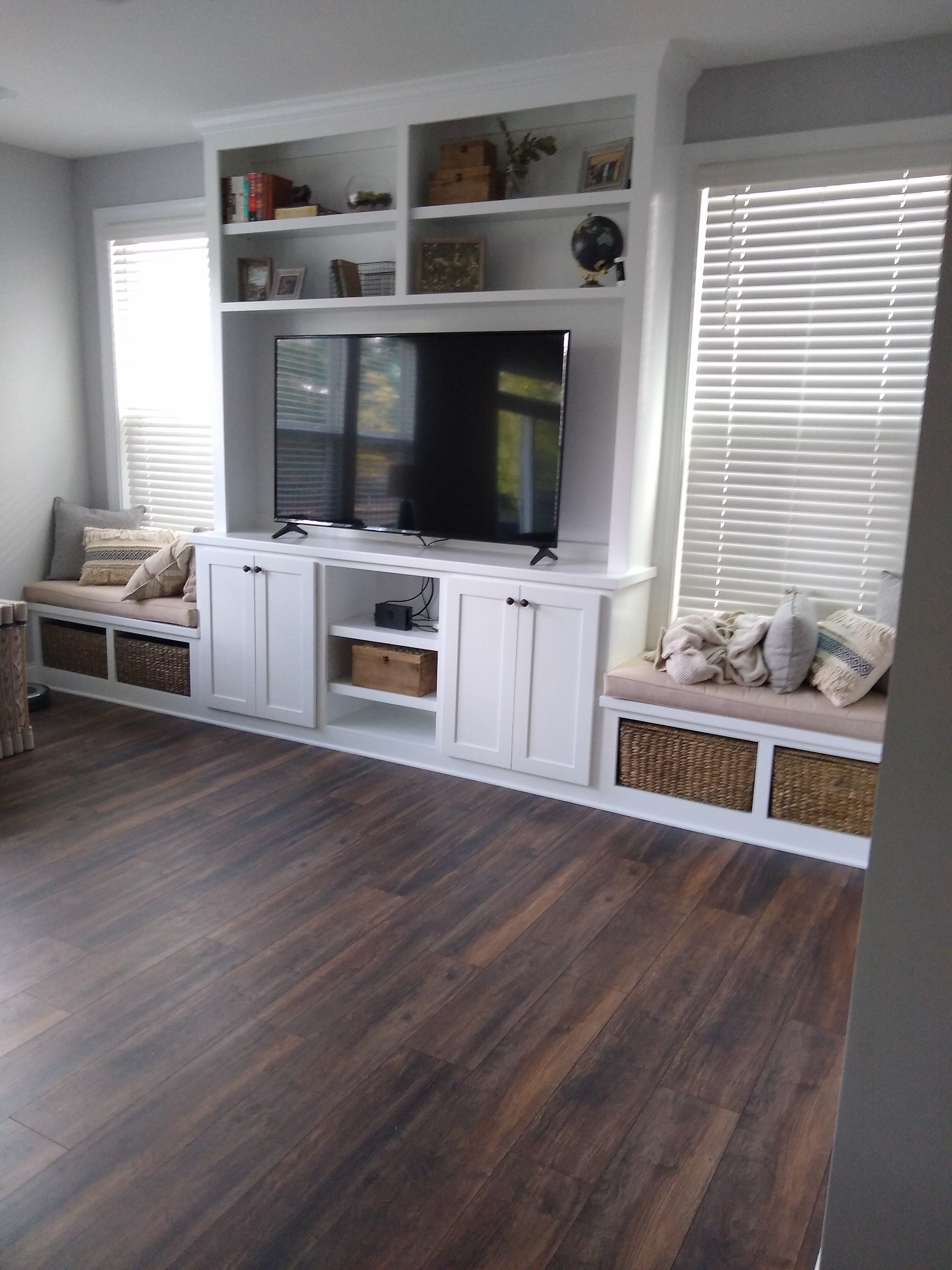Living Room Built-In with TV Opening, Shaker Doors, Window Seats with Open Cubbies, Adjustable Shelves, and Crown