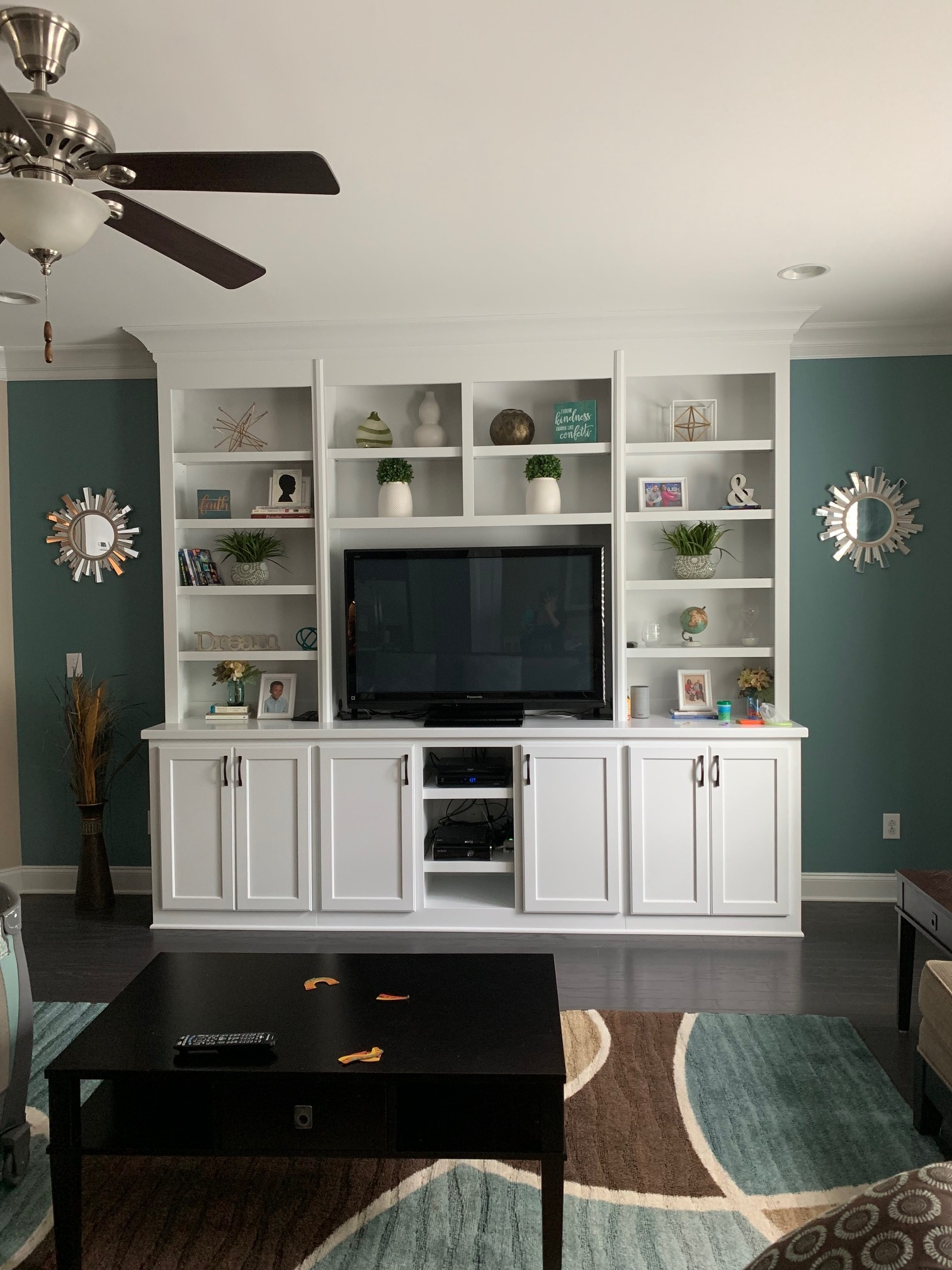 Living Room Built-In with TV Opening, Shaker Doors, Adjustable Shelves, Component Openings, and Crown