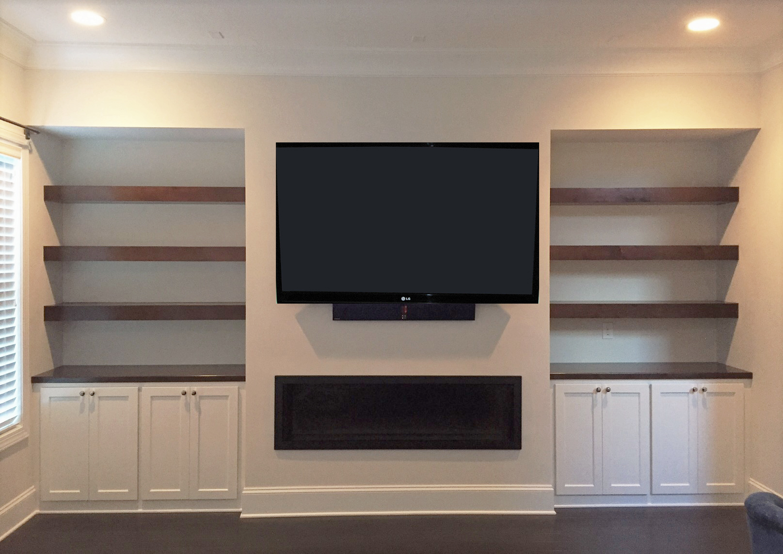 Fireplace Built-Ins with Shaker Doors, and Stain Floating Shelves & Countertops