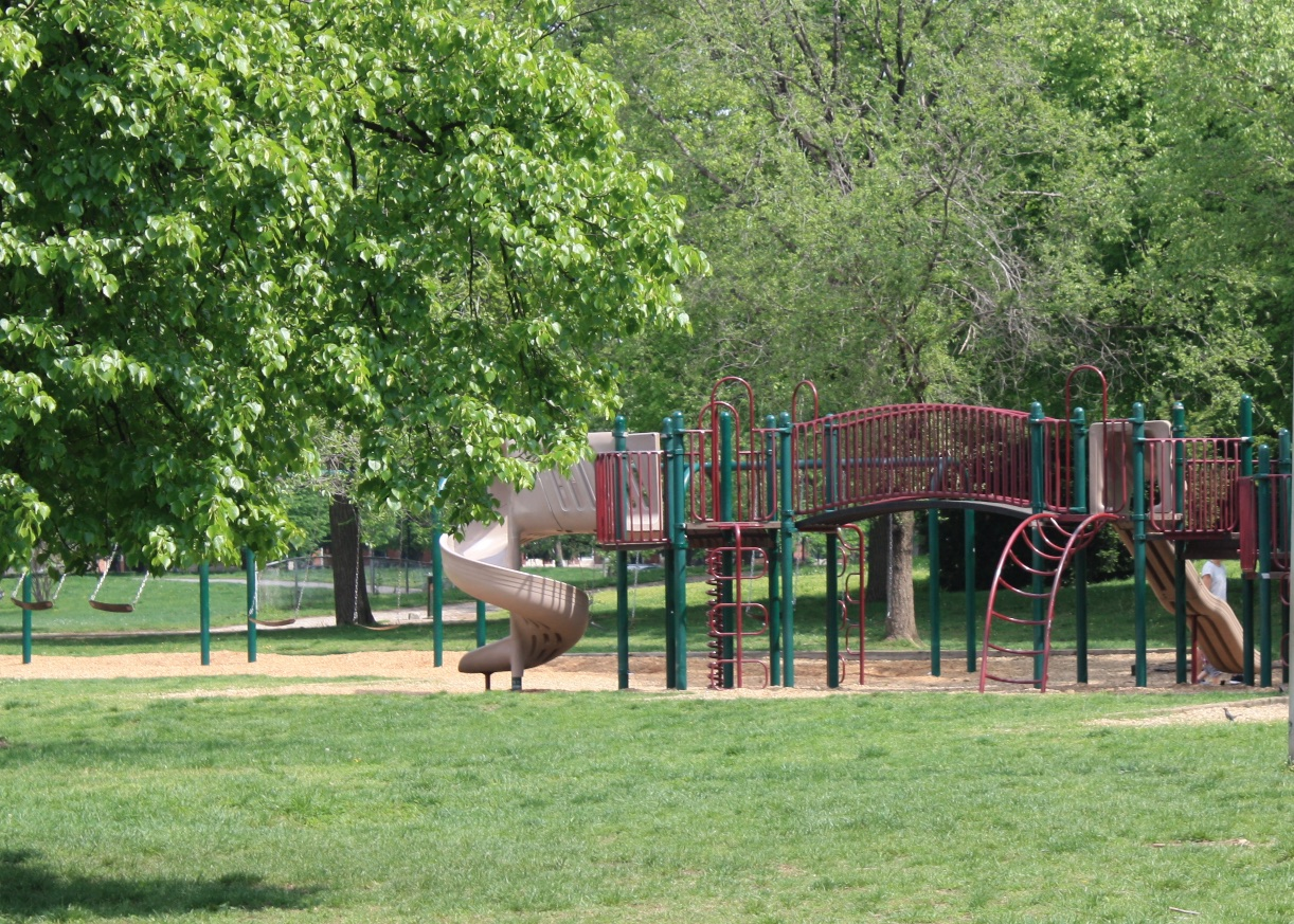 "The Playground   Patterson Park has two playgrounds. The first, located inside the park near the intersection of Linwood Avenue and East Pratt Street, features swings for infants and big kids, and two play areas for a range of ages. The second, the ""Castle"" playground, is located near Eastern Avenue between Milton and Montford Avenues. Constructed in 2005, this playground pays homage to the Baltimore's distinct architecture and landmarks - complete with rowhouse facades, a Bromo-Seltzer clock tower and a gazebo reminiscent of the Music Pavilion, one of Patterson Park's lost landmarks. The space is completely fenced-in and includes separate play spaces for toddlers and older children plus an open area for running or tossing a ball. The slides and climbing equipment connect into the wall, making them handicap accessible."