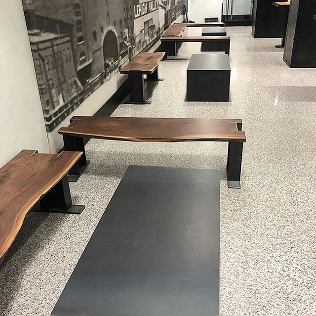 Check out these live edge walnut benches with I-beam legs and steel coffee tables for the #starrettlehigh lobby in #nyc Designed by @vda_designs, crafted by us!