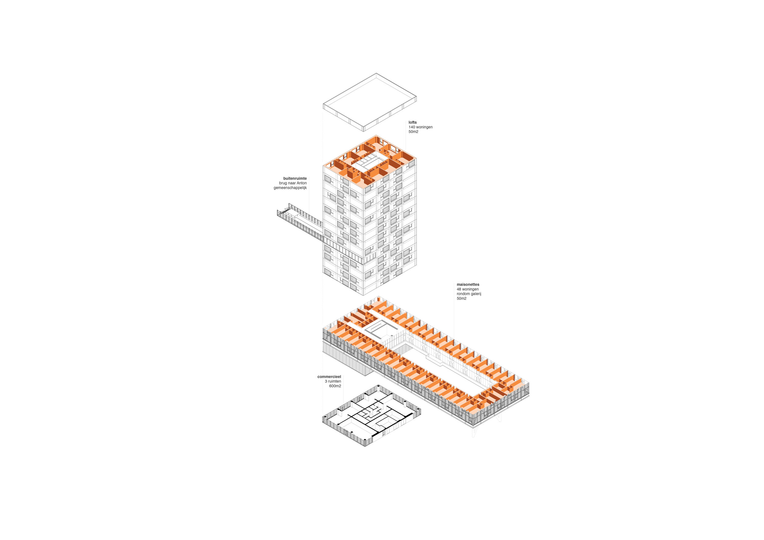 Isometric view with specific type of houses for the bridge and the tower