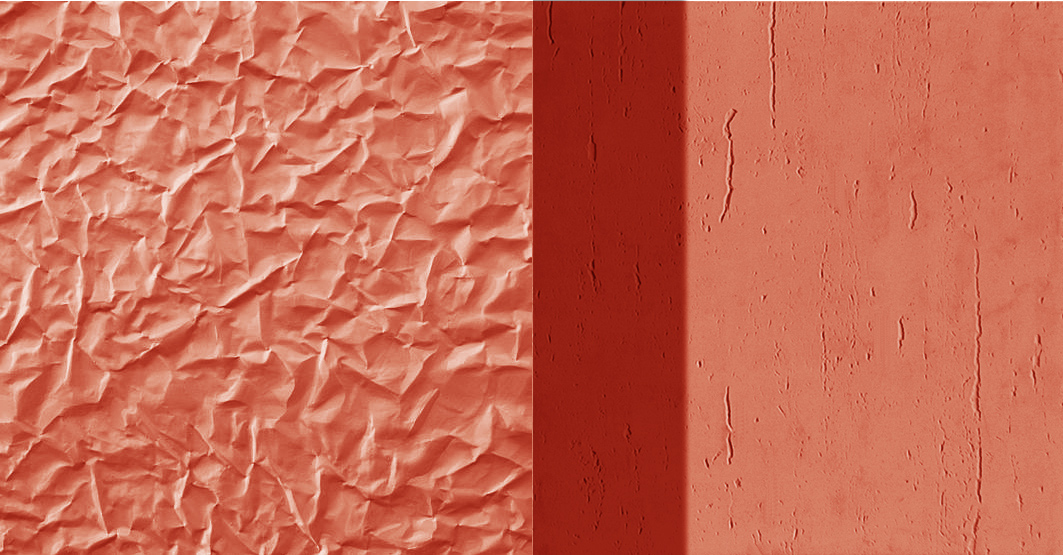 The two contrasting finishings of the prefabricated concrete facade, both in a red-orange tint that brings brightness and colour to the abstract industrial area