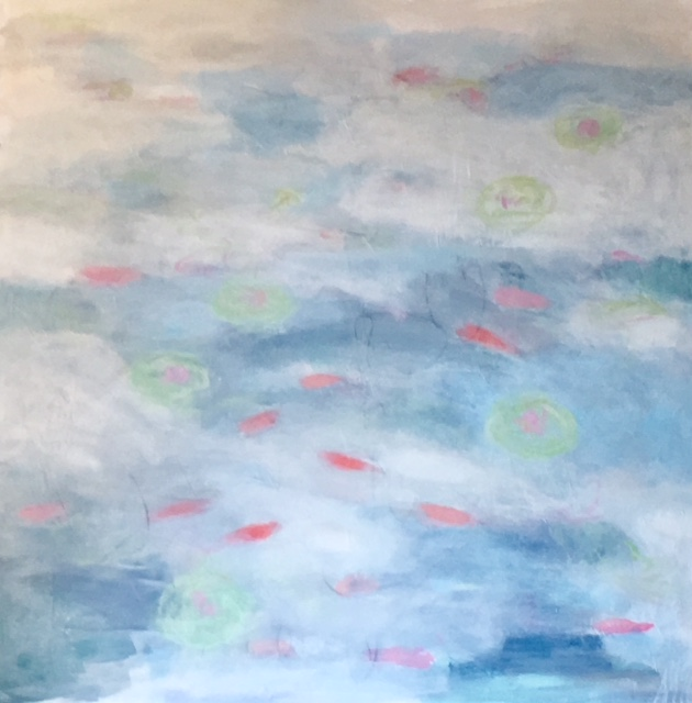 "Koi Pond III, 48"" x 48"", Sold"