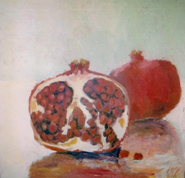 """Pomegranates, 48"""" x 48"""", Jesuit Museum"""