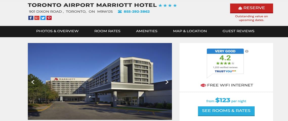 Marriot Hotel - (Near the Airport) 901 Dixon Road, Toronto M9W 1J5844-757-0857