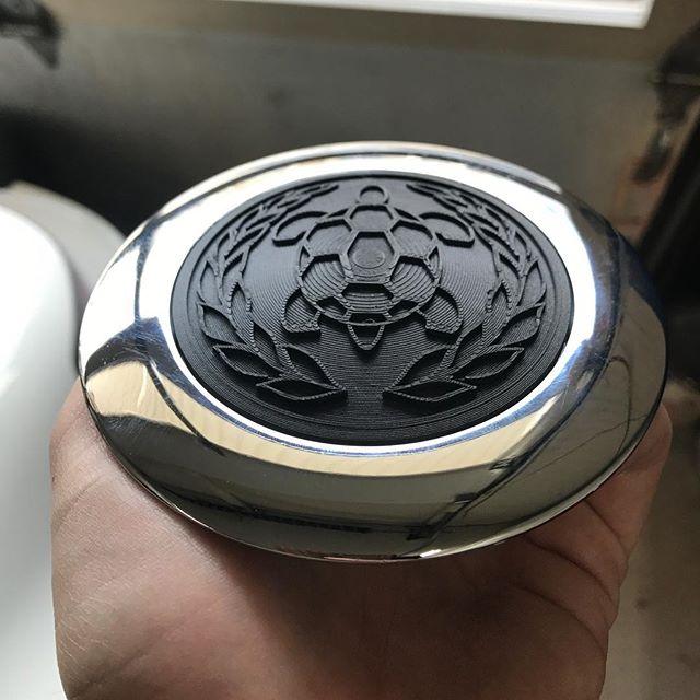 Recent commission: Gordon-Keeble horn button insert prototype