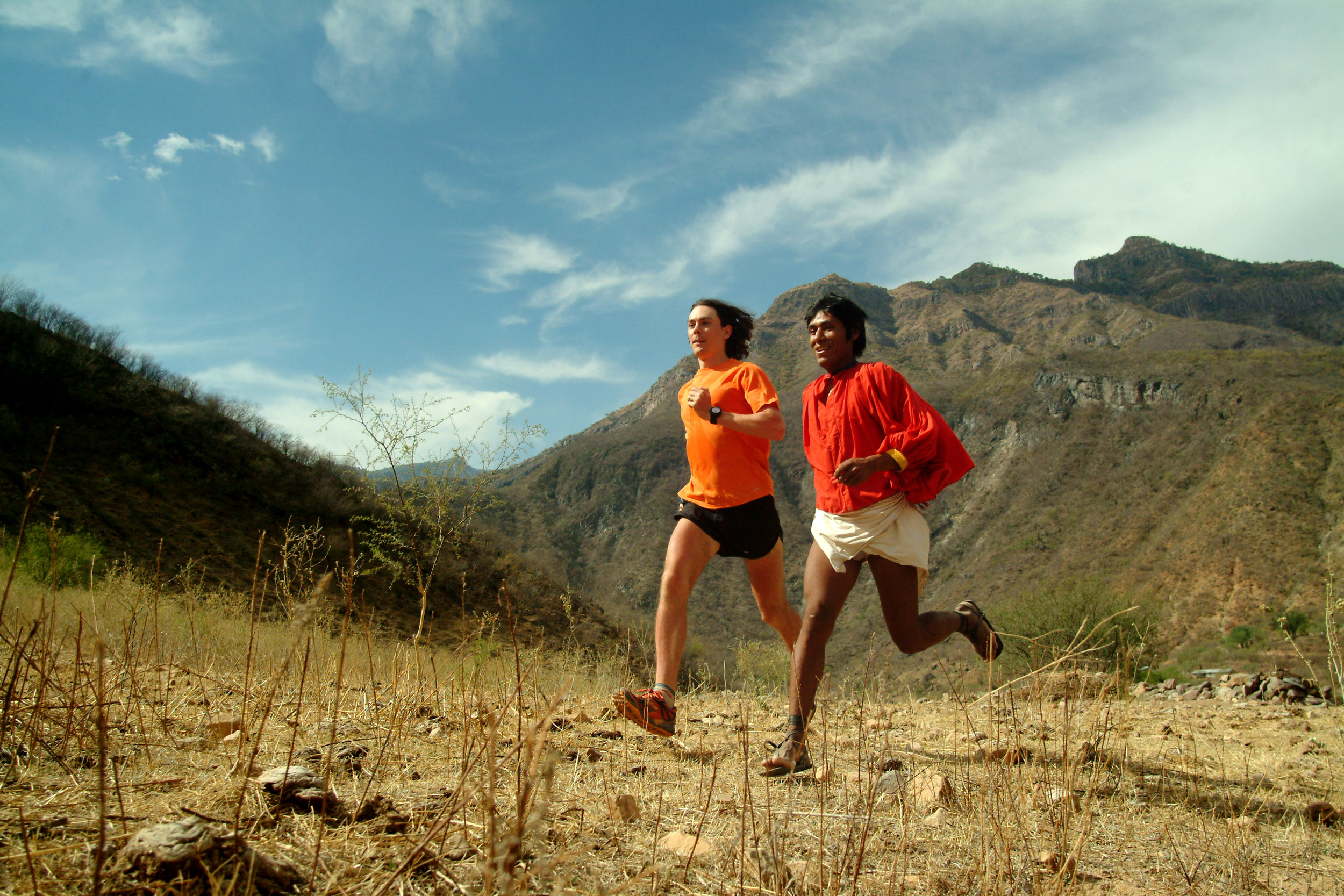 Running with the Tarahumara runners in Copper Canyon.