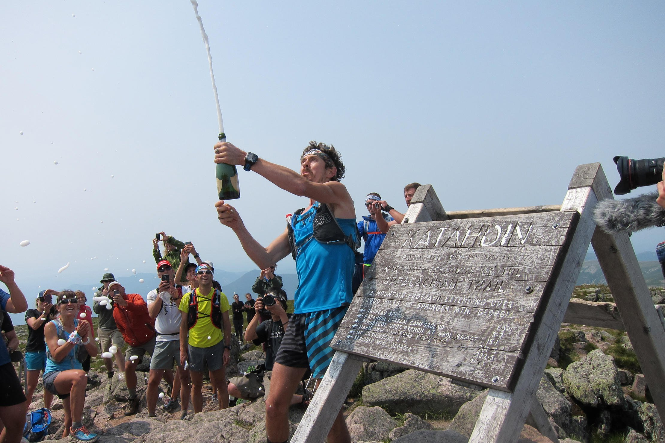 Summit of Mount Katadin during the Appalachian Trail FKT. (Image: Kit Fox)