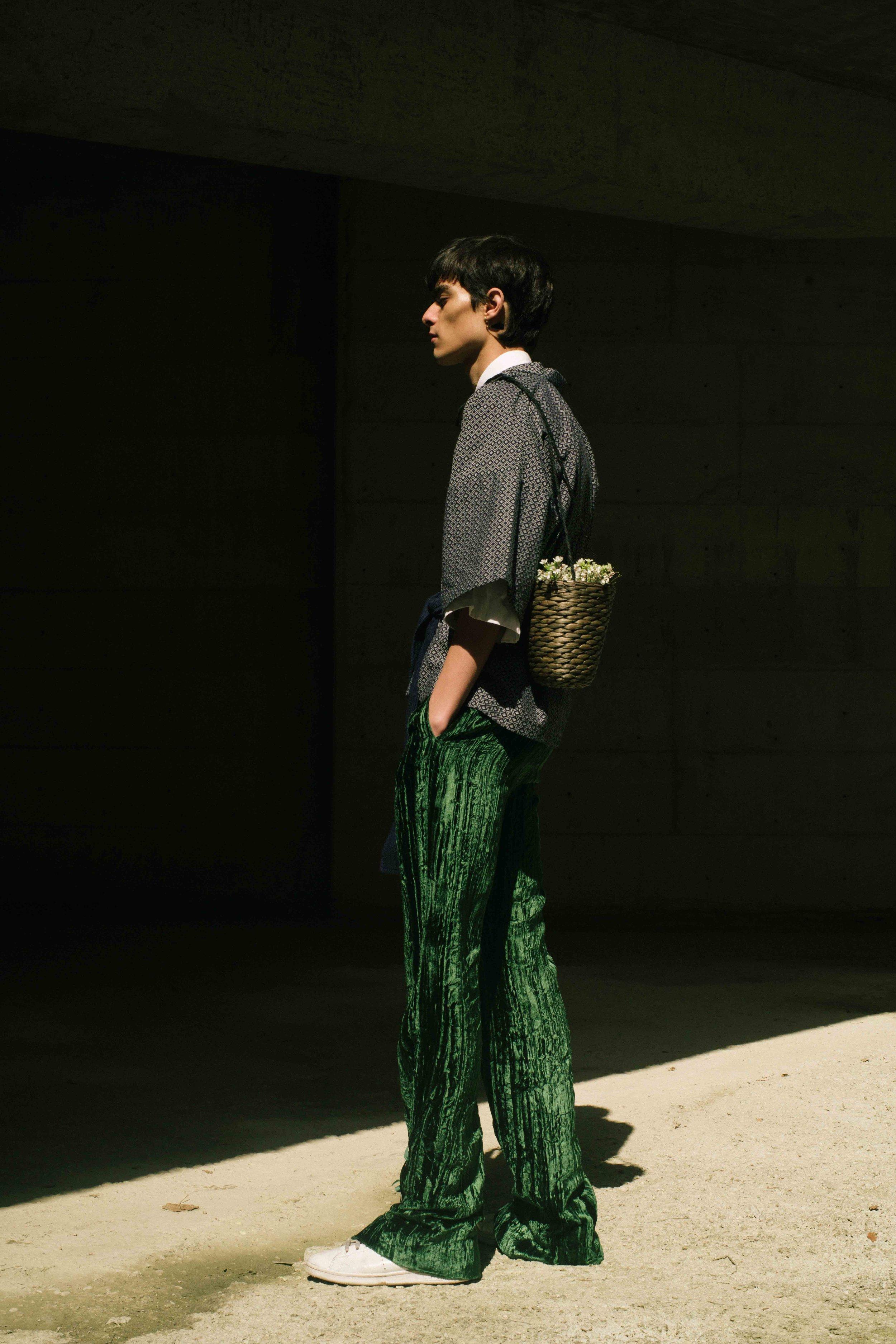 Kimono  YELLOW STUDIO  Shirt  ACNE STUDIOS  Velvet Trousers  DELADA  Basket  Stylist's Own