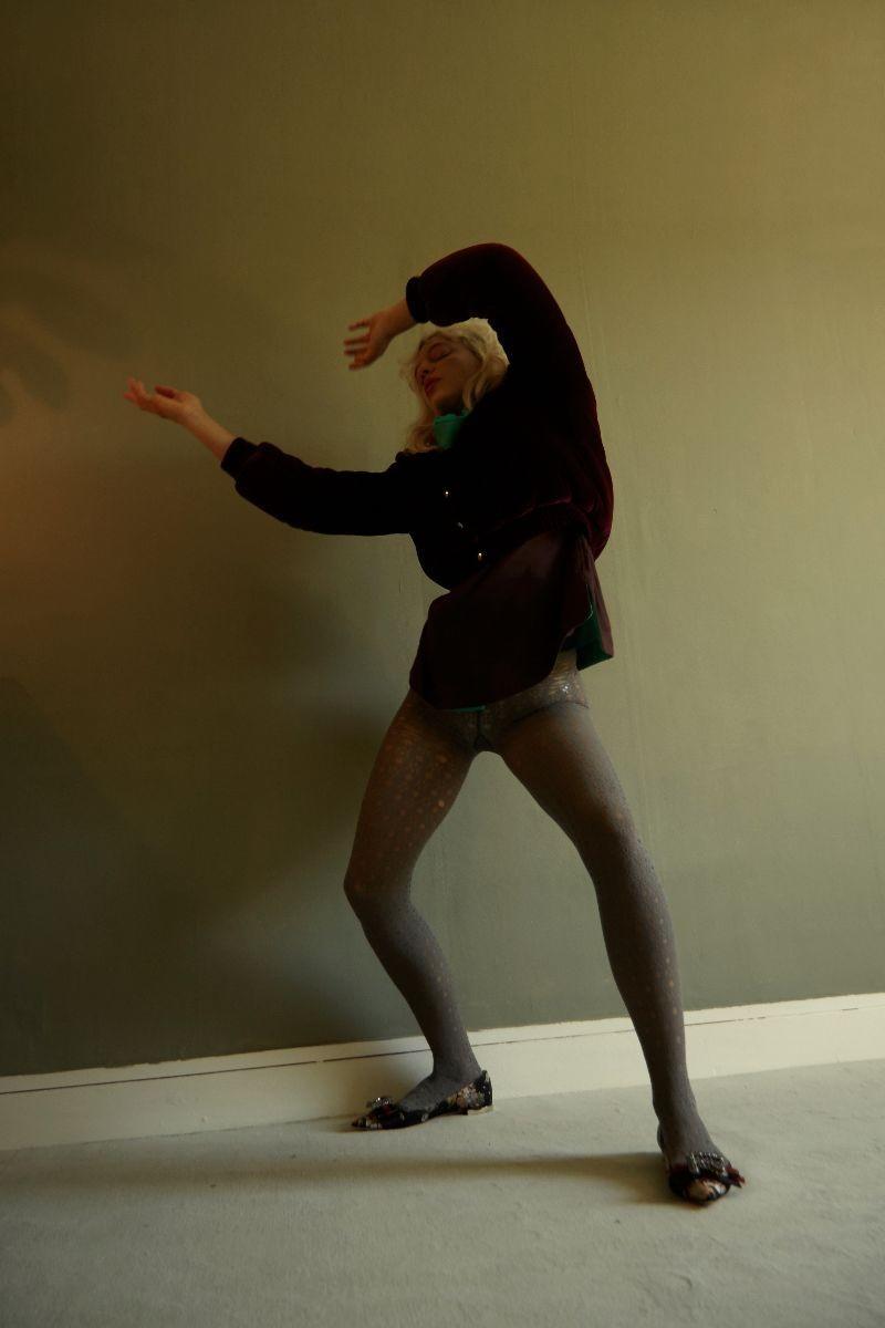 Turtleneck  Pleats Please Issey Miyake   Jacket  Delphine Delafon   Tights  Falke   Shoes  Rochas