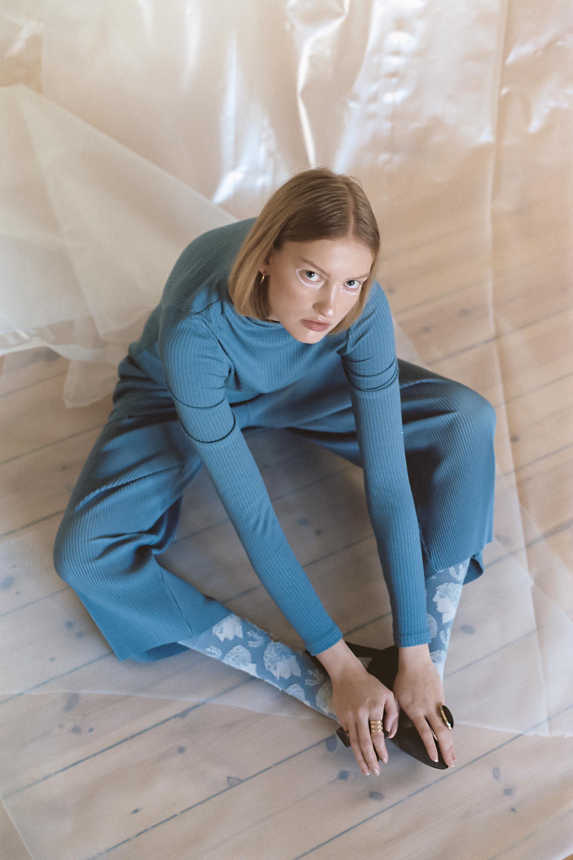 Blue Ribbed Top & Pants  WEEKDAY  Blue Socks  Bonne Maison  Shoes  Vintage