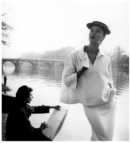 Suzy Parker by the Seine, Costume by Balenciaga,1953. Photograph by Louise Dahl-Wolfe. © 1989 Center for Creative Photography, Arizona Board of Regents.