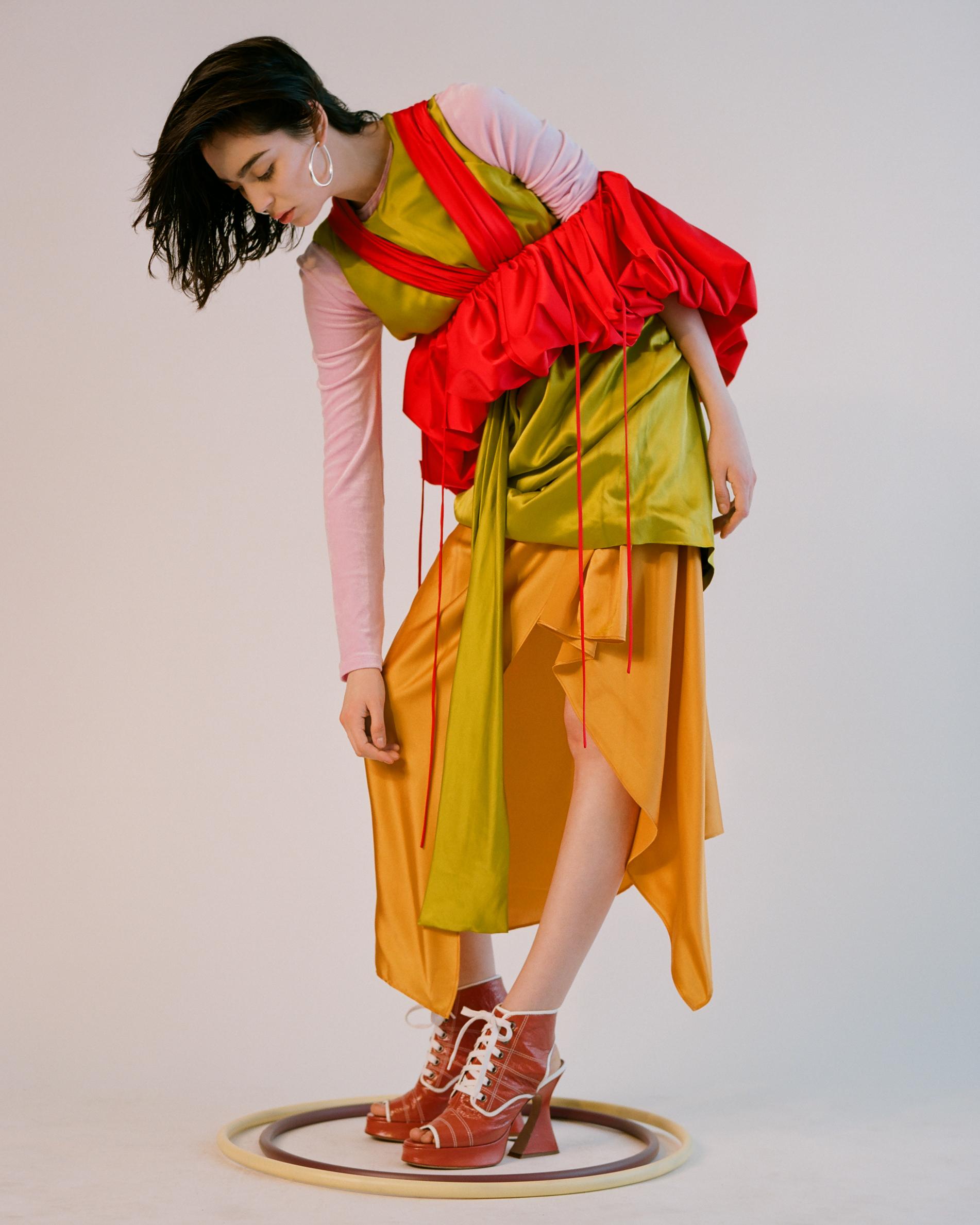 Long sleeve top  BASERANGE Dress  KAMPERETT Top  ROSIE ASSOULIN   Shoes  SIES MARJAN  Earrings  Stylist's Own