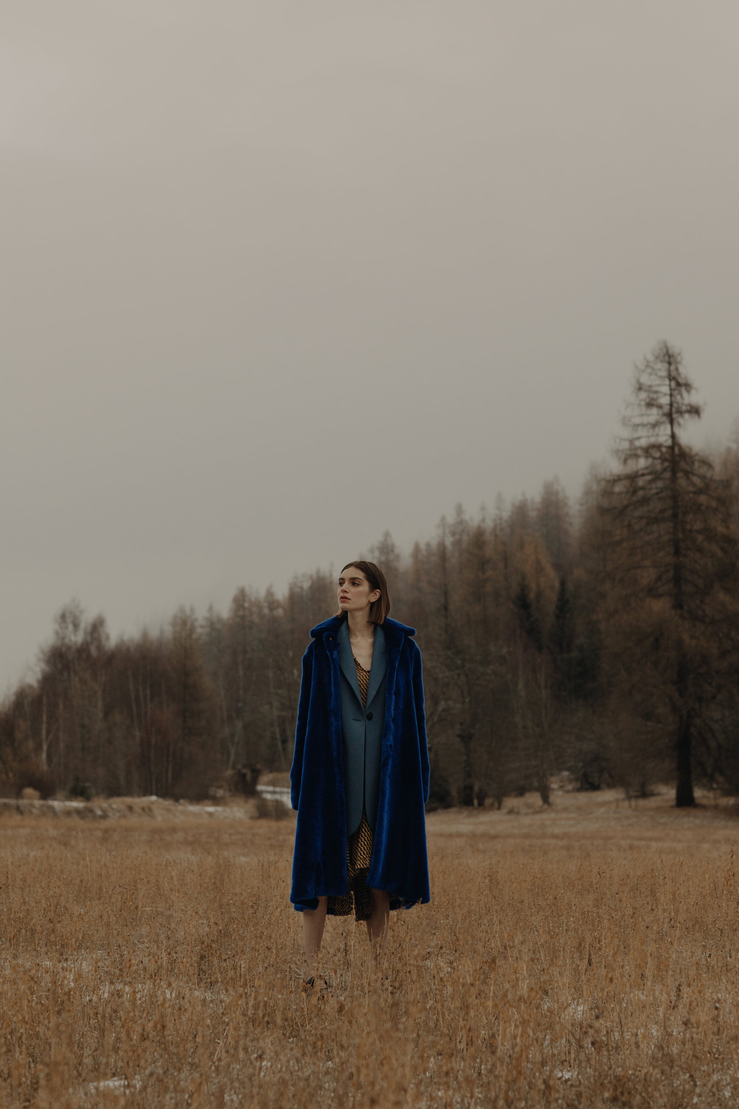 Coat  PHILIPPE PERISSE  Jacket  ACNE STUDIOS   Dress  MERCI   Shoes  ADIEU
