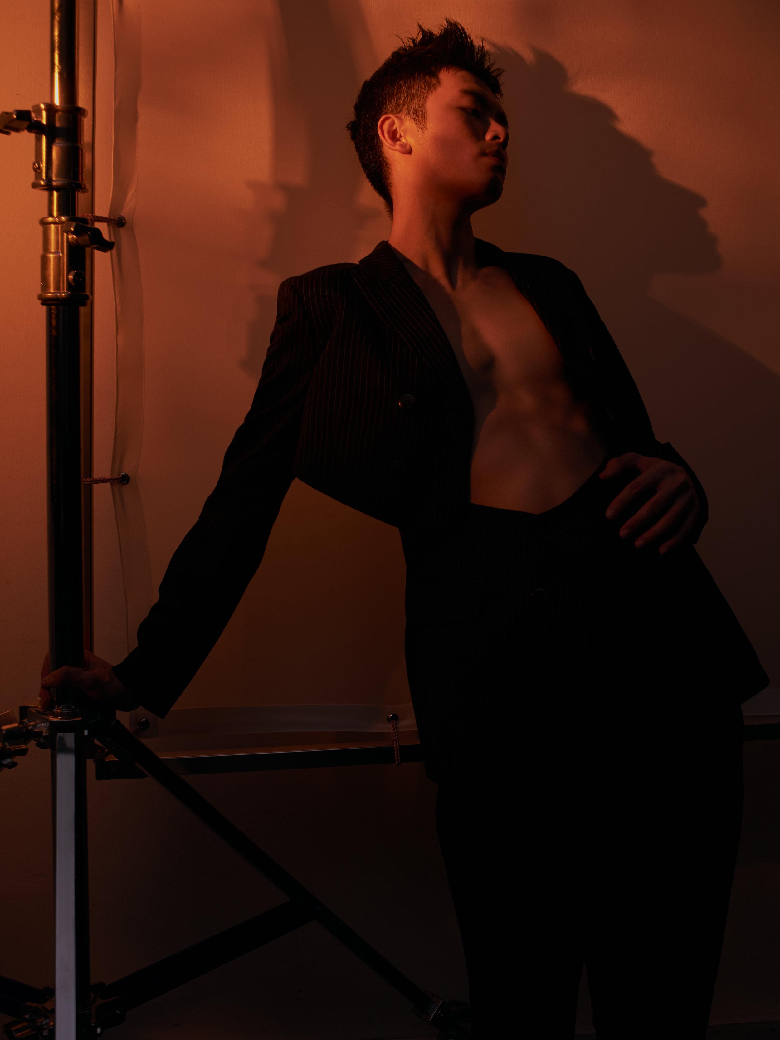 Double-breasted suit  COMME DES GARÇONS   Trousers  CÉLINE