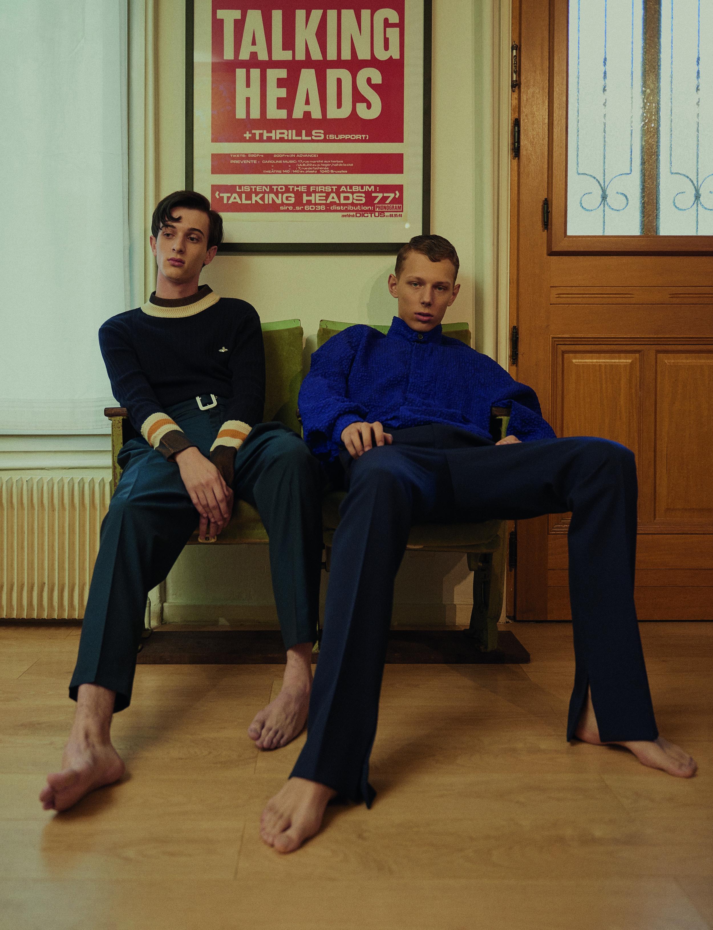 Augustin wears Jumper  VIVIENNE WESTWOOD  Trousers  KENZO   Luca wears Jacket  ISSEY MIYAKE MEN  Trousers  LANVIN