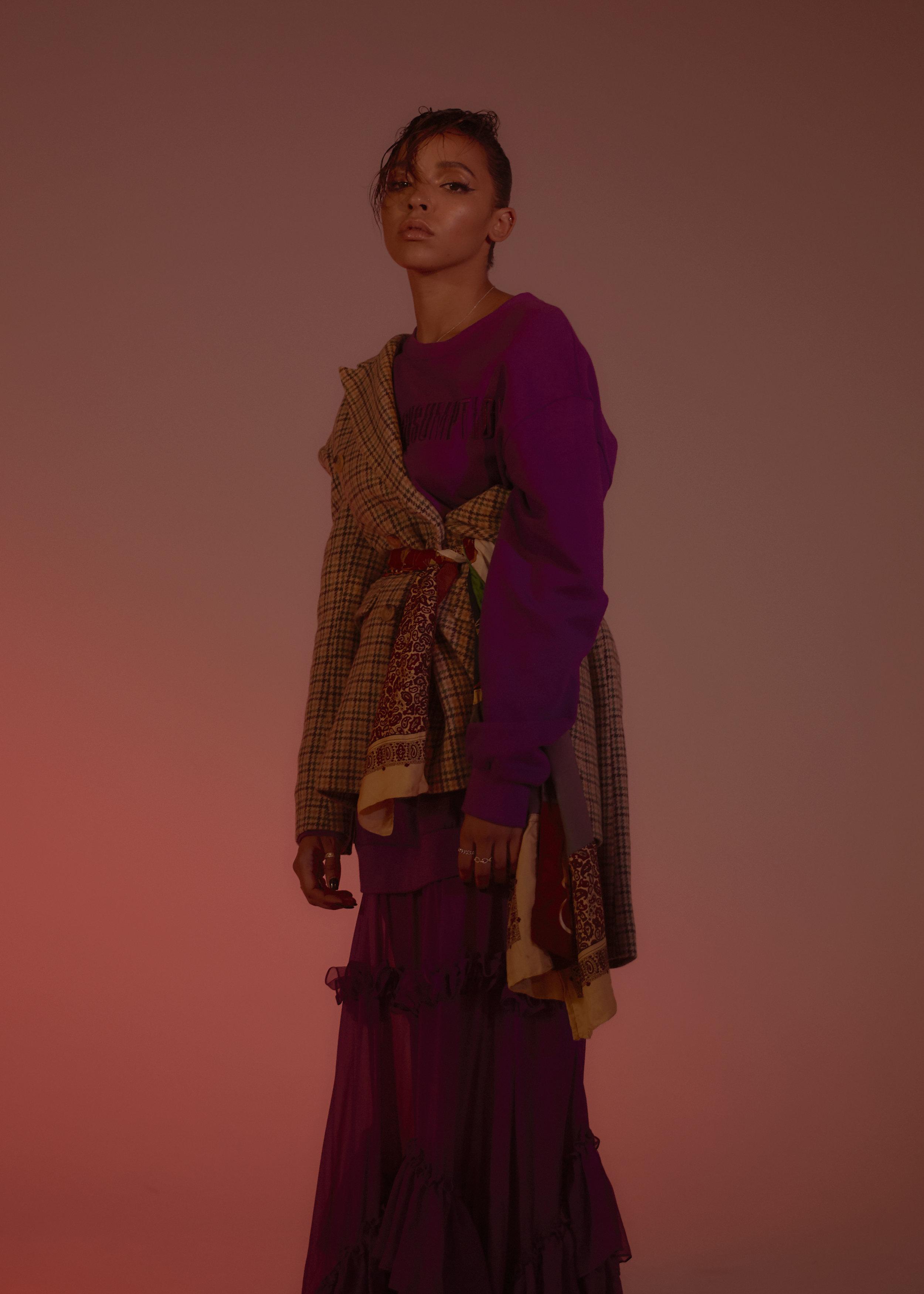 Dress and Blazer  ANNAKIKI  Scarf  ATELIER & REPAIRS