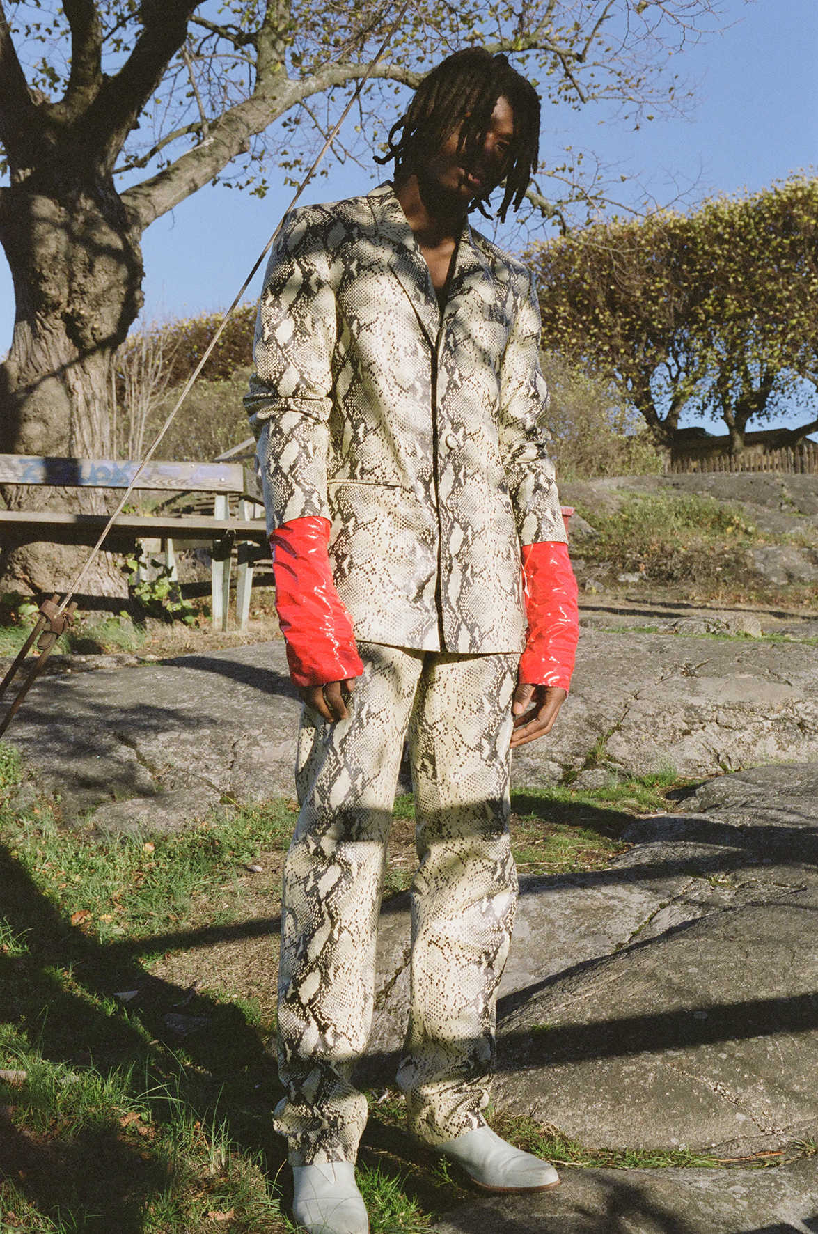 Jacket and Trousers  NAND  Gloves  AMANDA VARHAUGVIK  Shoes  OUR LEGACY