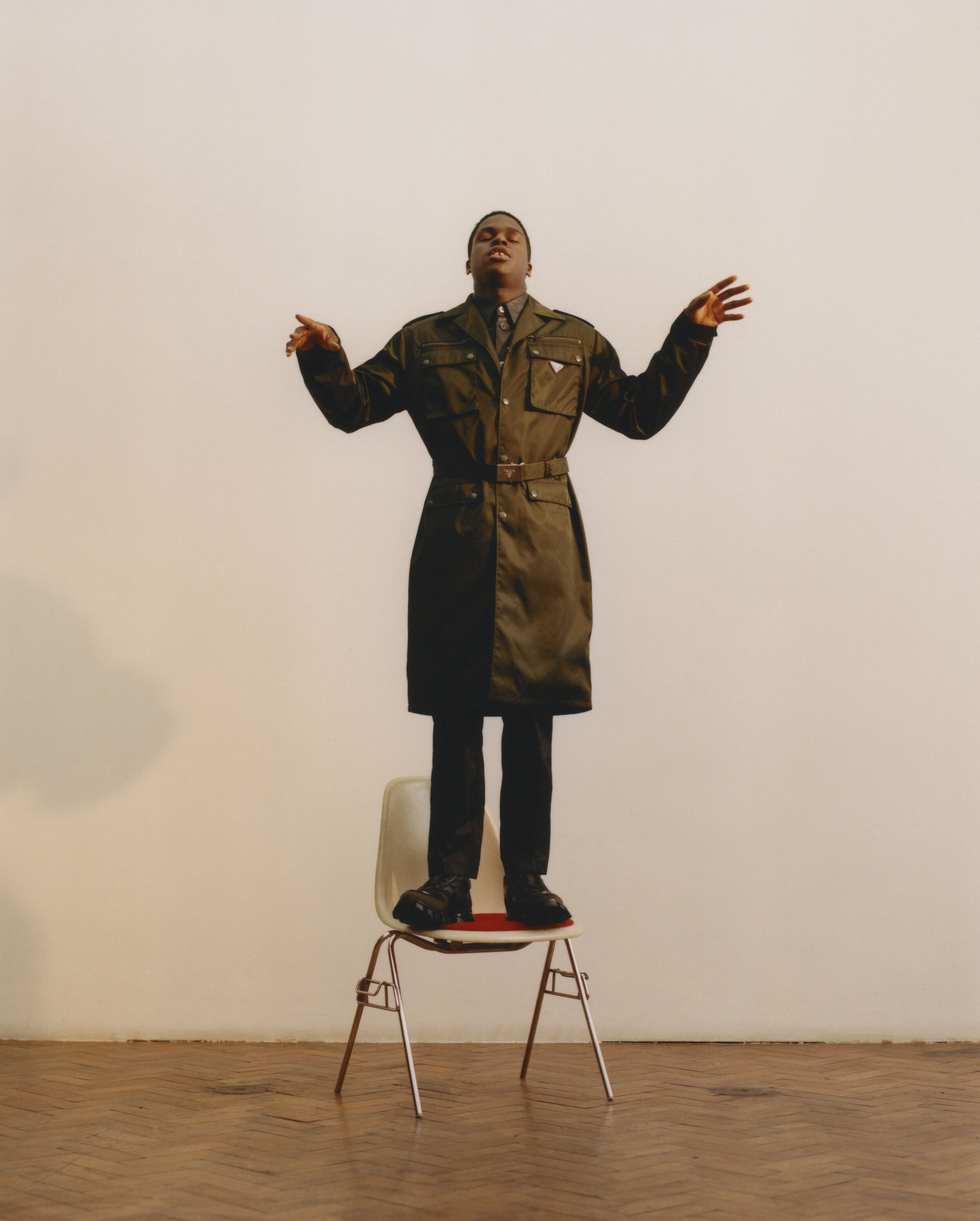 Coat, Trousers and Shoes  PRADA  Shirt  OUR LEGACY
