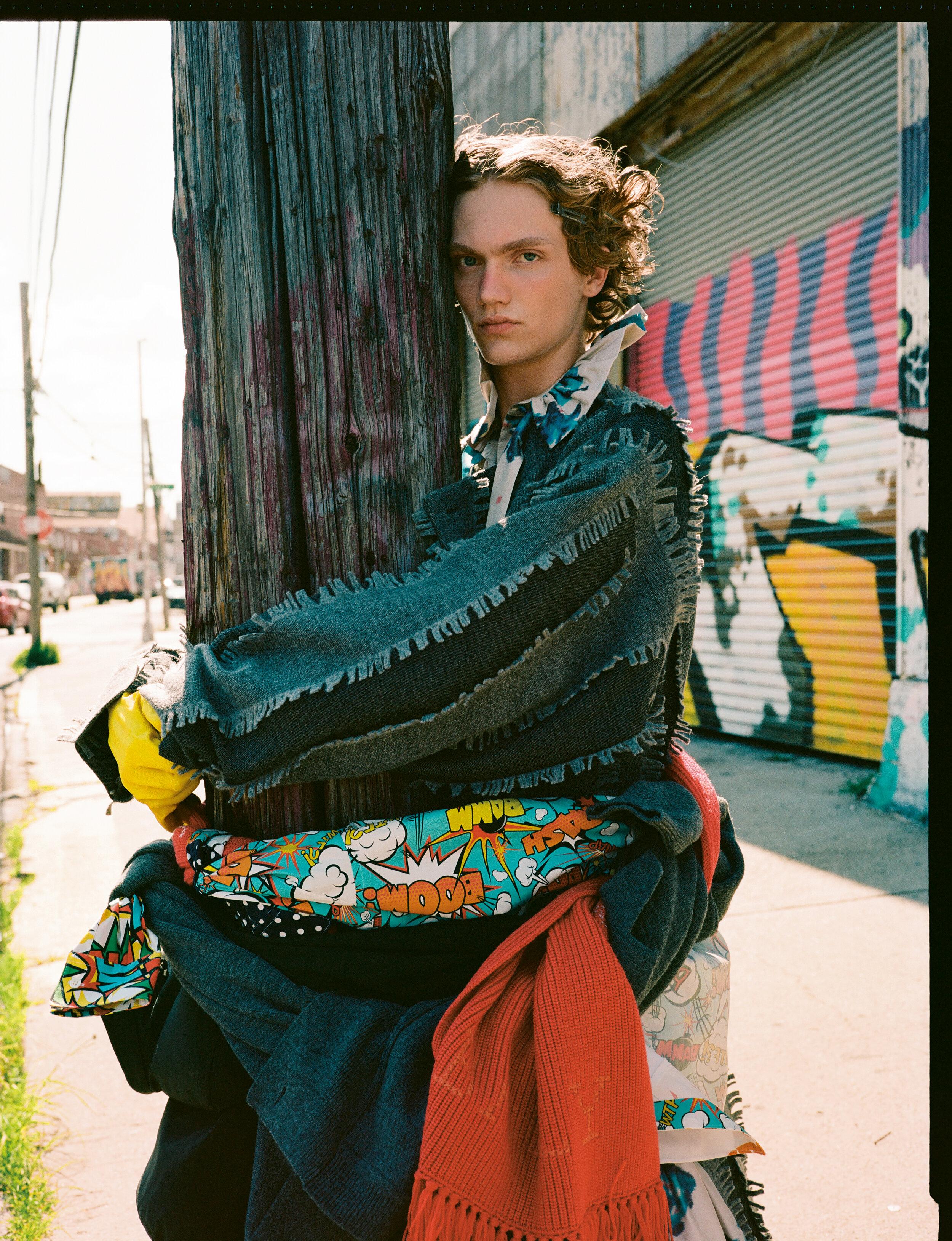 Dress  MARC JACOBS  Coat  ISSEY MIYAKE  Shoes  ALEXANDER WANG