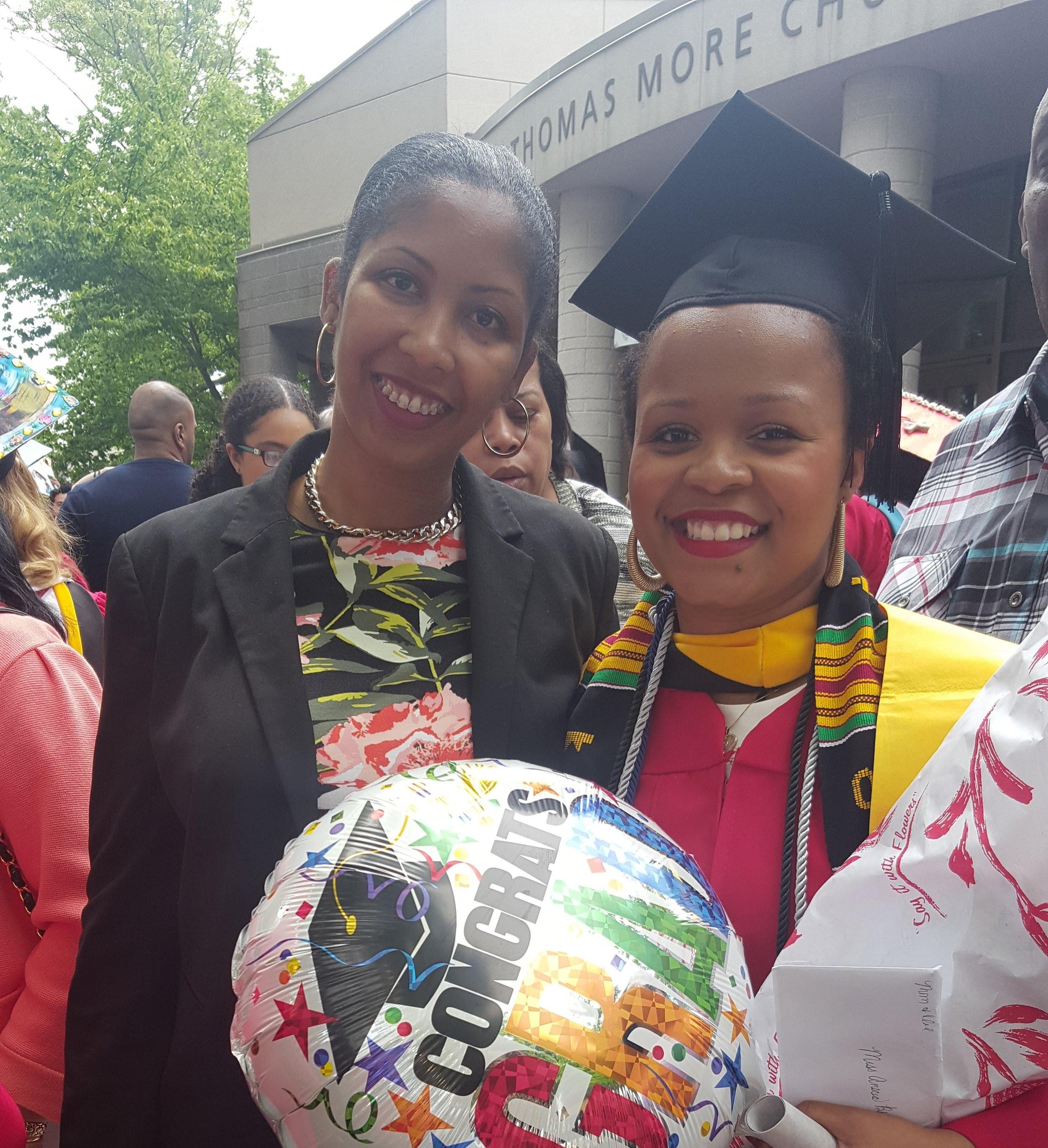 Anscia and her advisor, Ms. Baker, at her graduation from St. John's University.