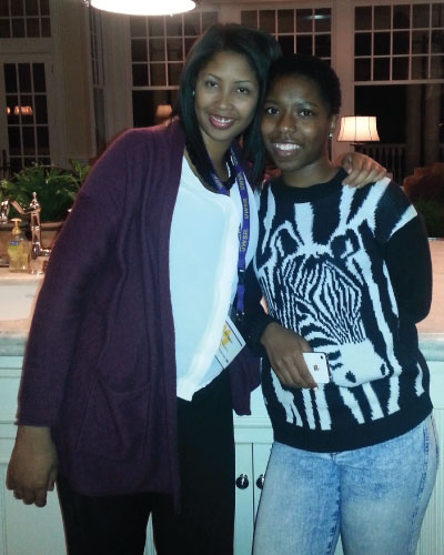Tynia with Ms. Baker, College Success Manager, during her College Outreach Visit.