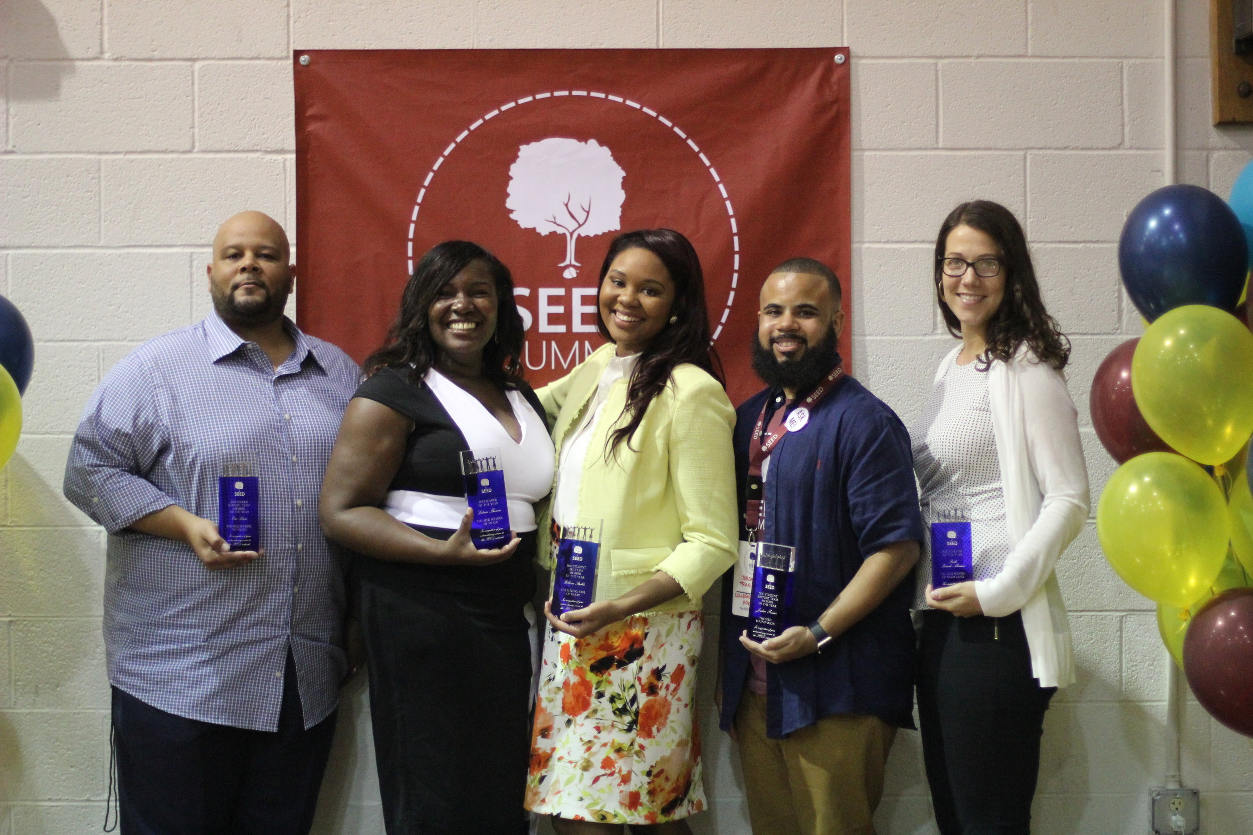 The 2017 SEED Staff of the Year Network winners (pictured left to right): Eric Lewis (SEED Miami), Latrice Thomas (SEED Miami), Willecia Stubbs (SEED Miami), Jordan Frasier (SEED Foundation), and Leah Prandi-Abrams (SEED Maryland).