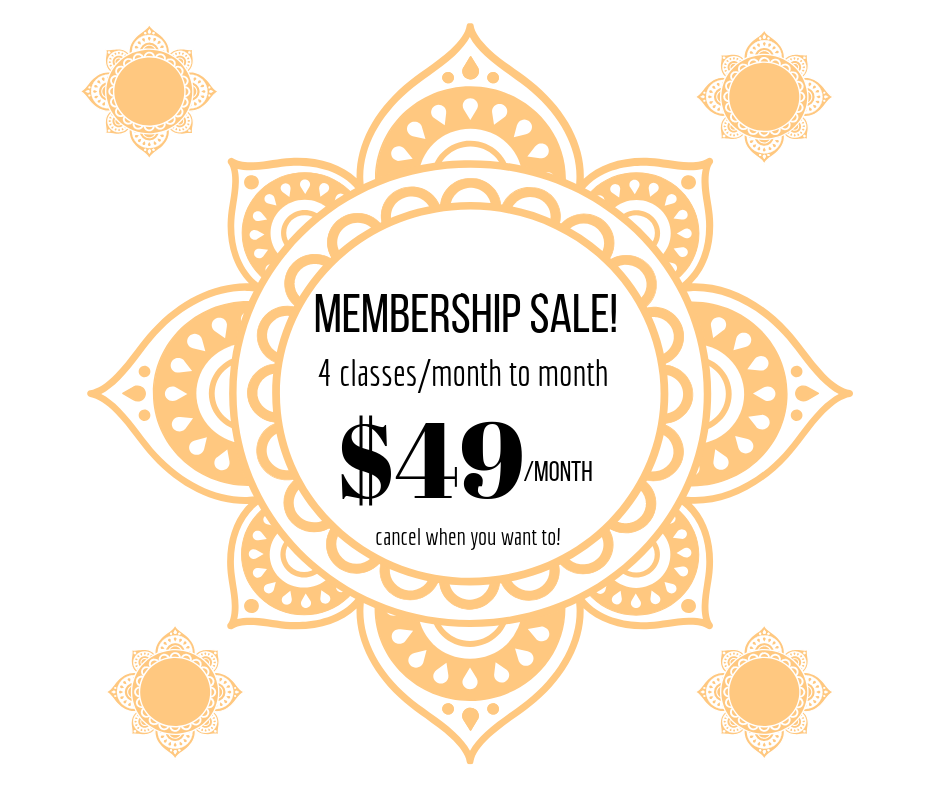 4 CLASSES/MONTH MONTHLY MEMBERSHIP $49