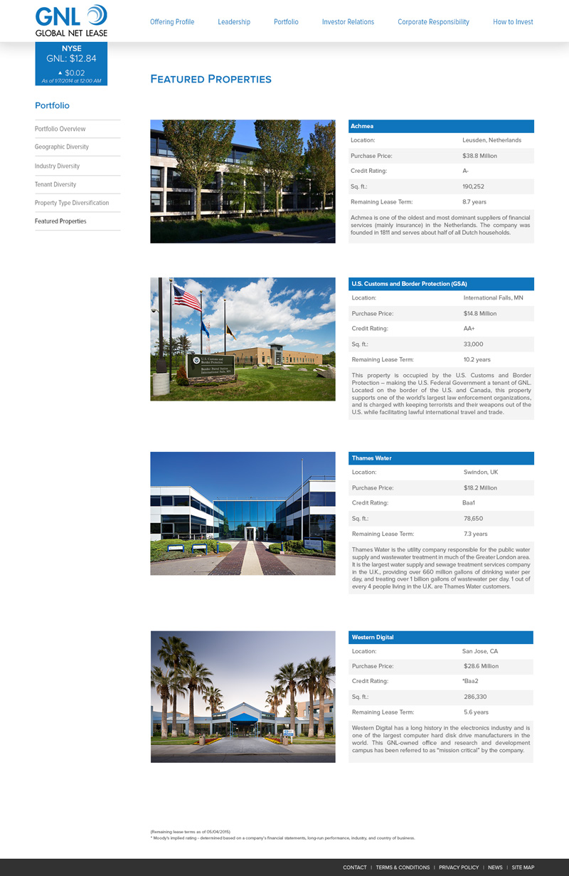 Featured properties page with ticker