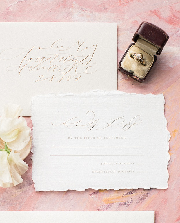 Calligraphy Wedding Reply Card