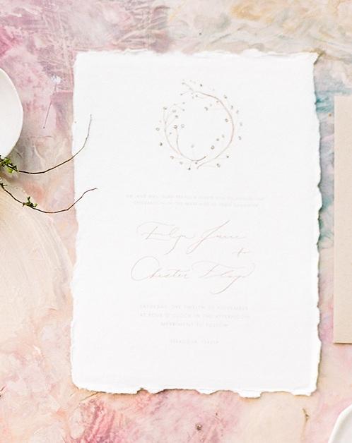 Organic Wedding Invitation on Handmade Paper