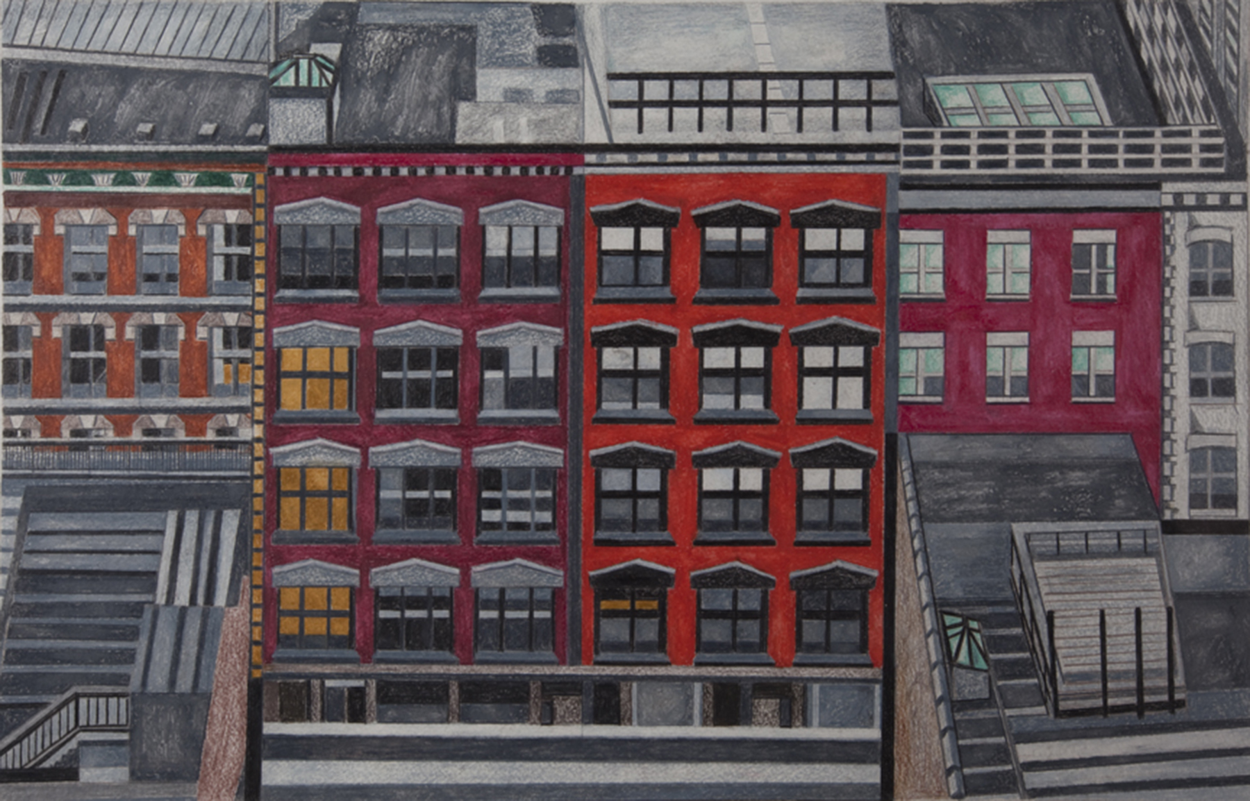 """From Mondrian's Window"" 21 x 29 inches, Caran d'Ache water color pencil, 2013"