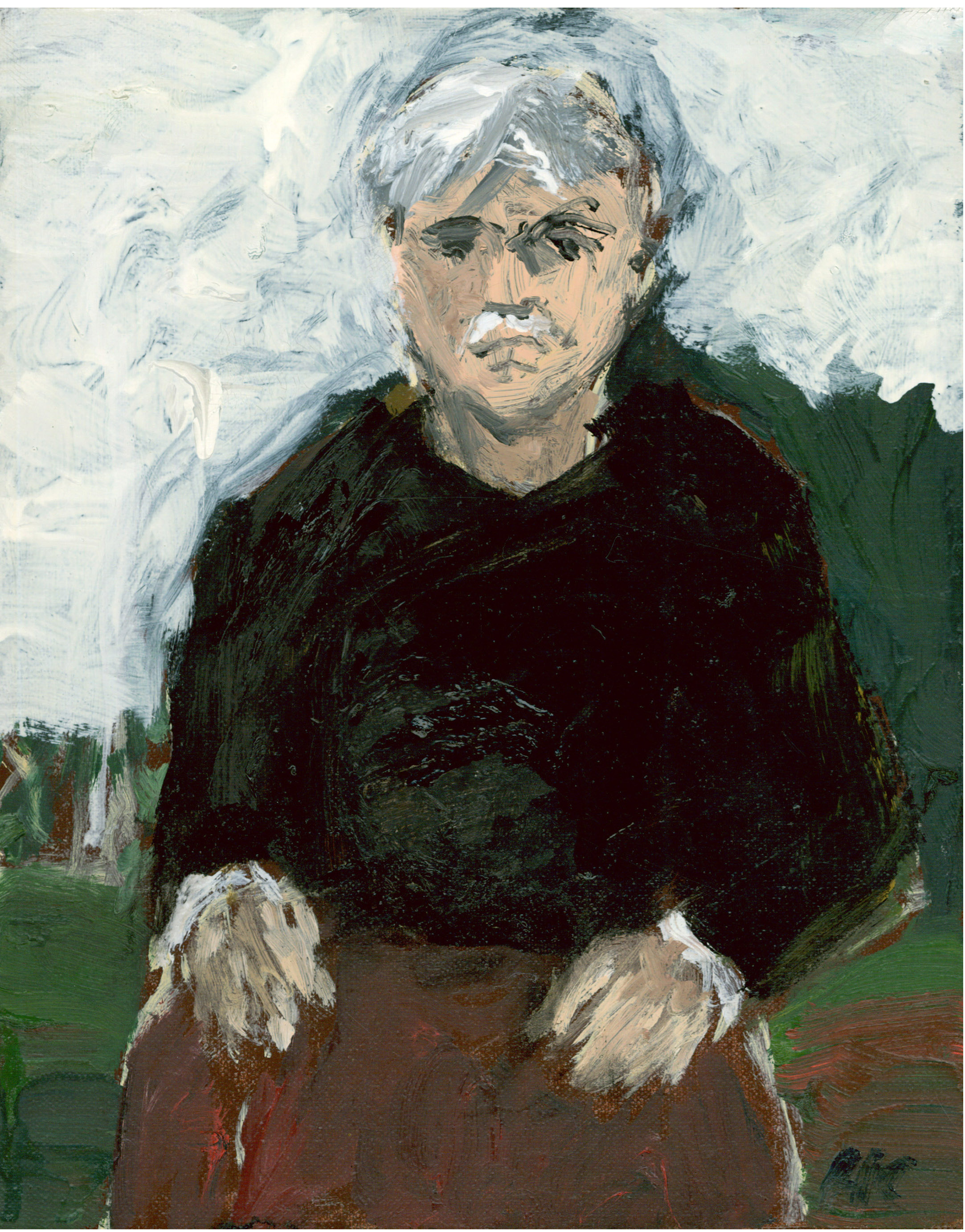 """Man Resting Hands on Chair"" 10 x 8 inches, Oil on Linen: $850."