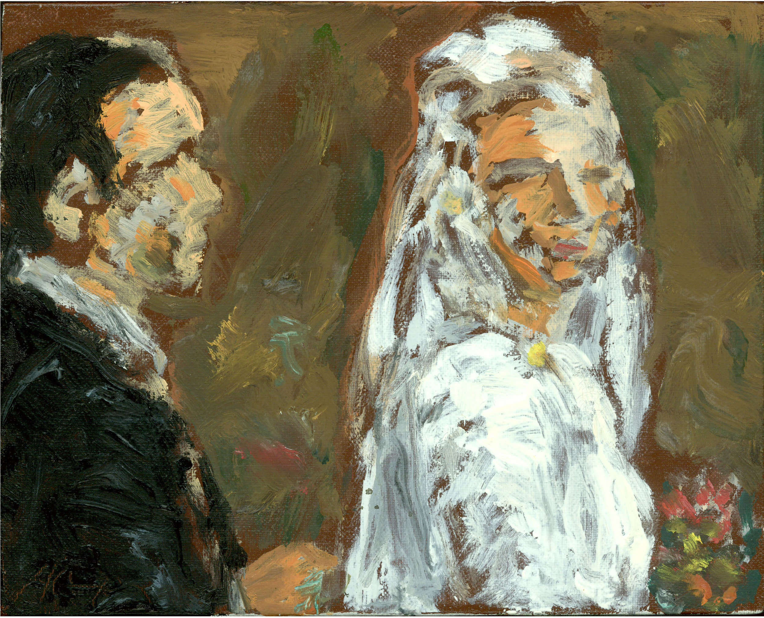 """Bride and Groom"":  8 x 10 inches, Oil on Linen"