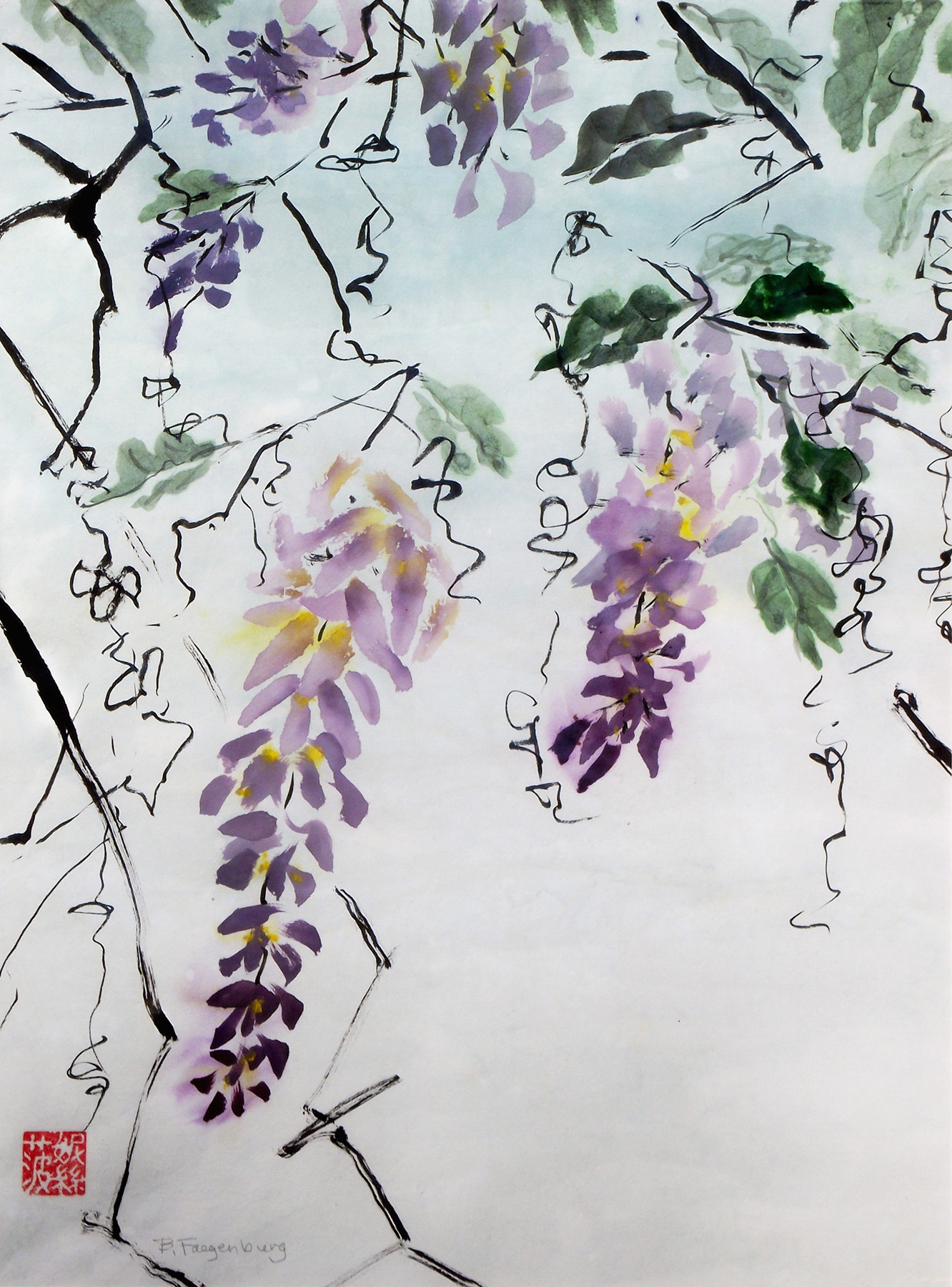 Wisteria, 20x24in, Asian brush painting on rice paper