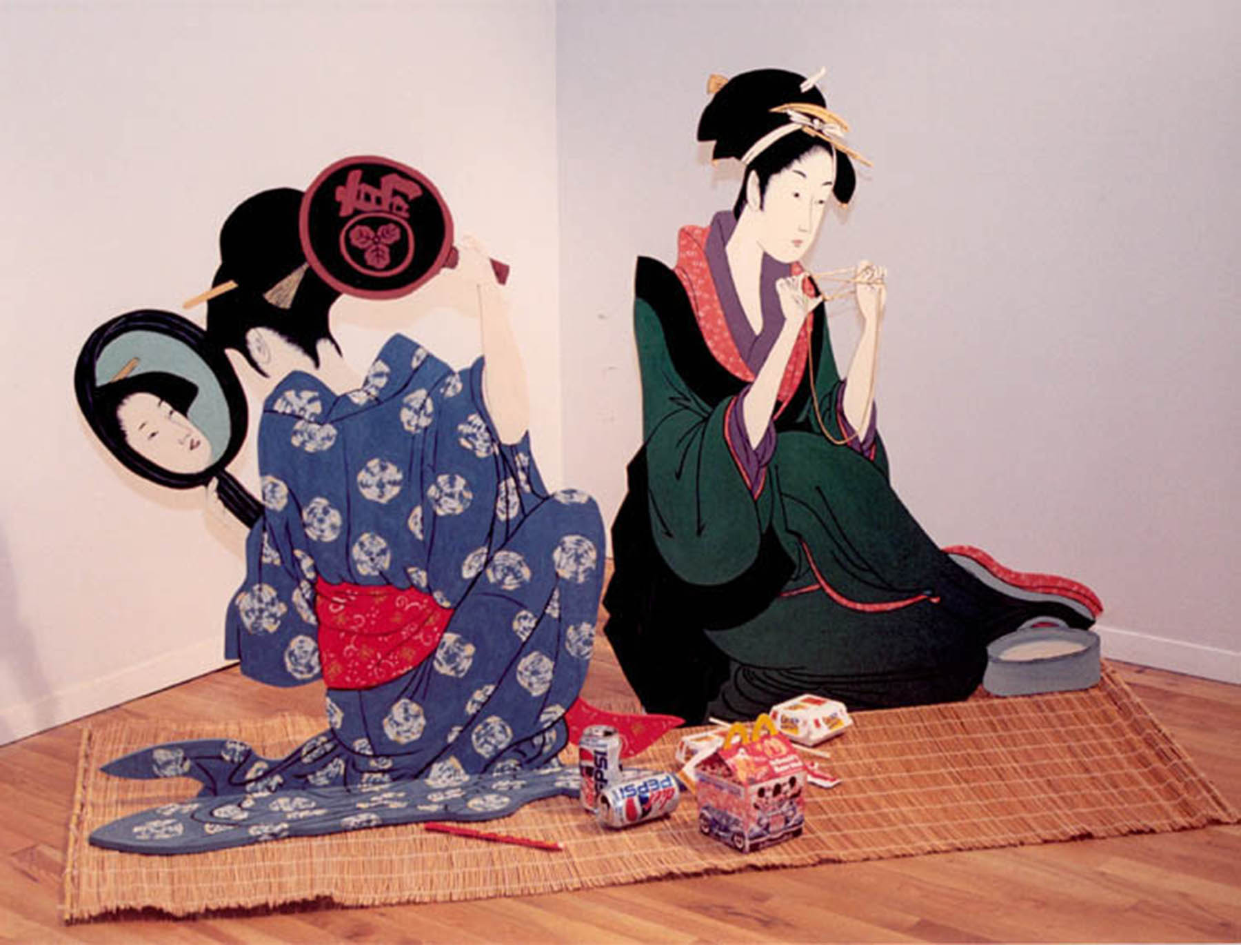 """What Do Geishas Have For Lunch?"", Oil on birch cutouts, fast food containers, tatami mat"