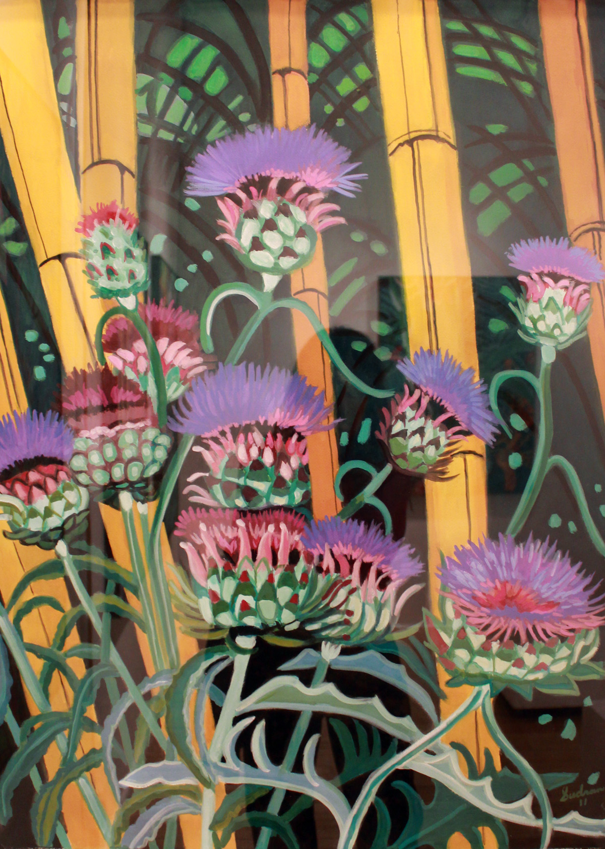 """Thistles & Bamboo"", 36 x 26, Gouache, $1,200"