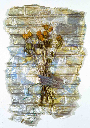 """Bouquet"" cast junkmail, glove & dried roses, approx 36x 22"""